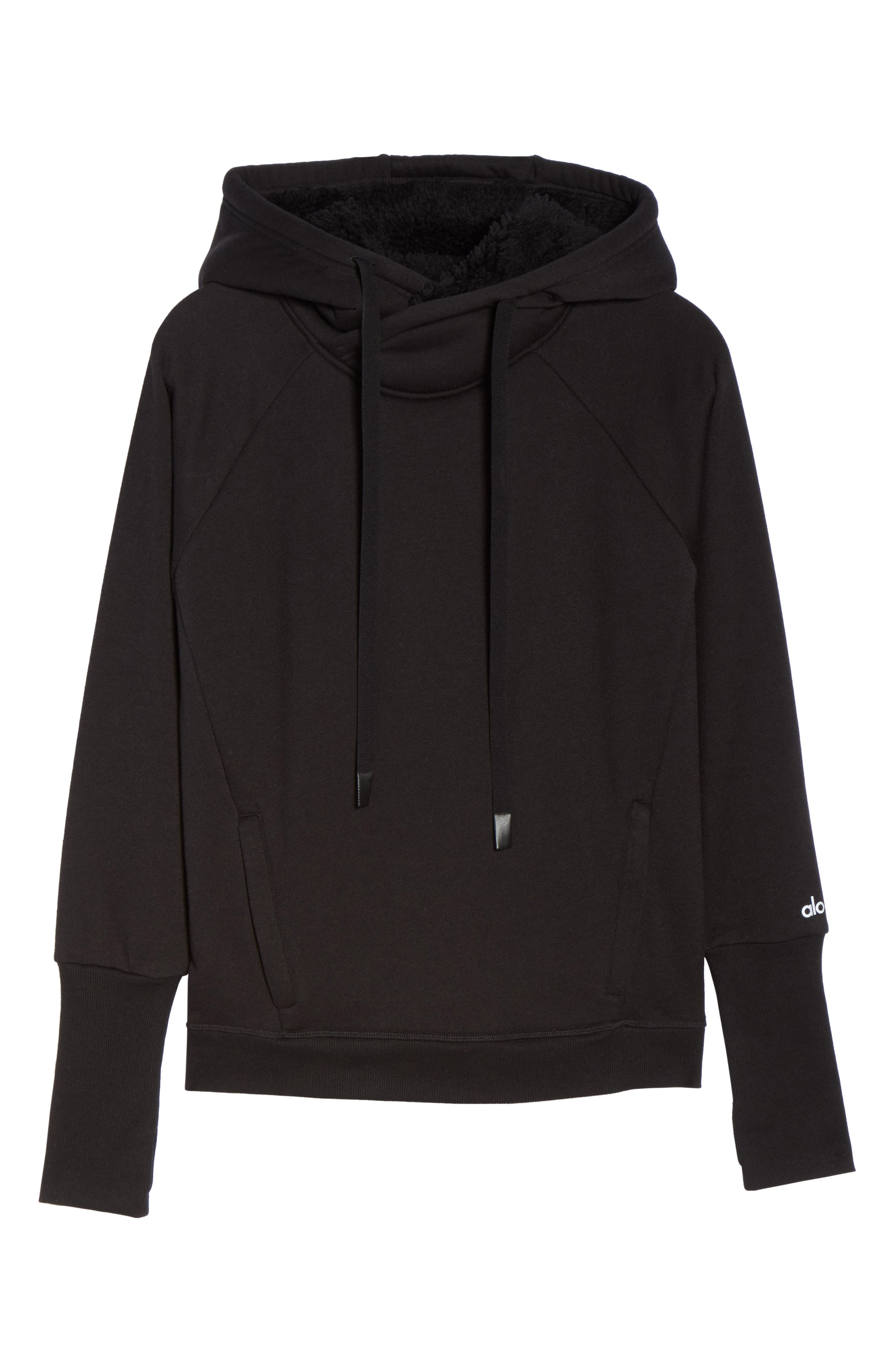 Frost Faux Shearling Lined Hoodie,                             Alternate thumbnail 7, color,                             001