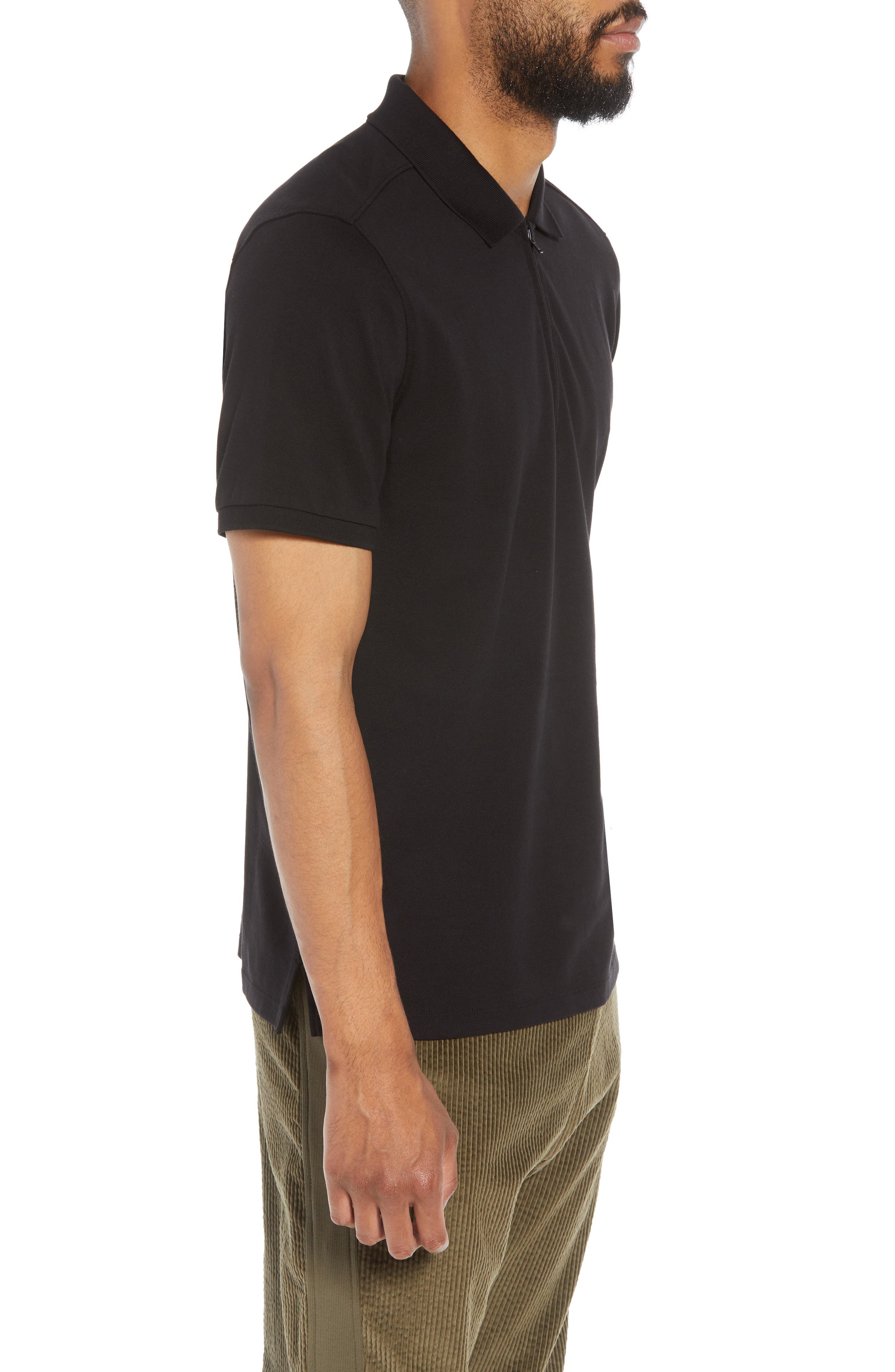 Trim Fit Zip Polo,                             Alternate thumbnail 3, color,                             001