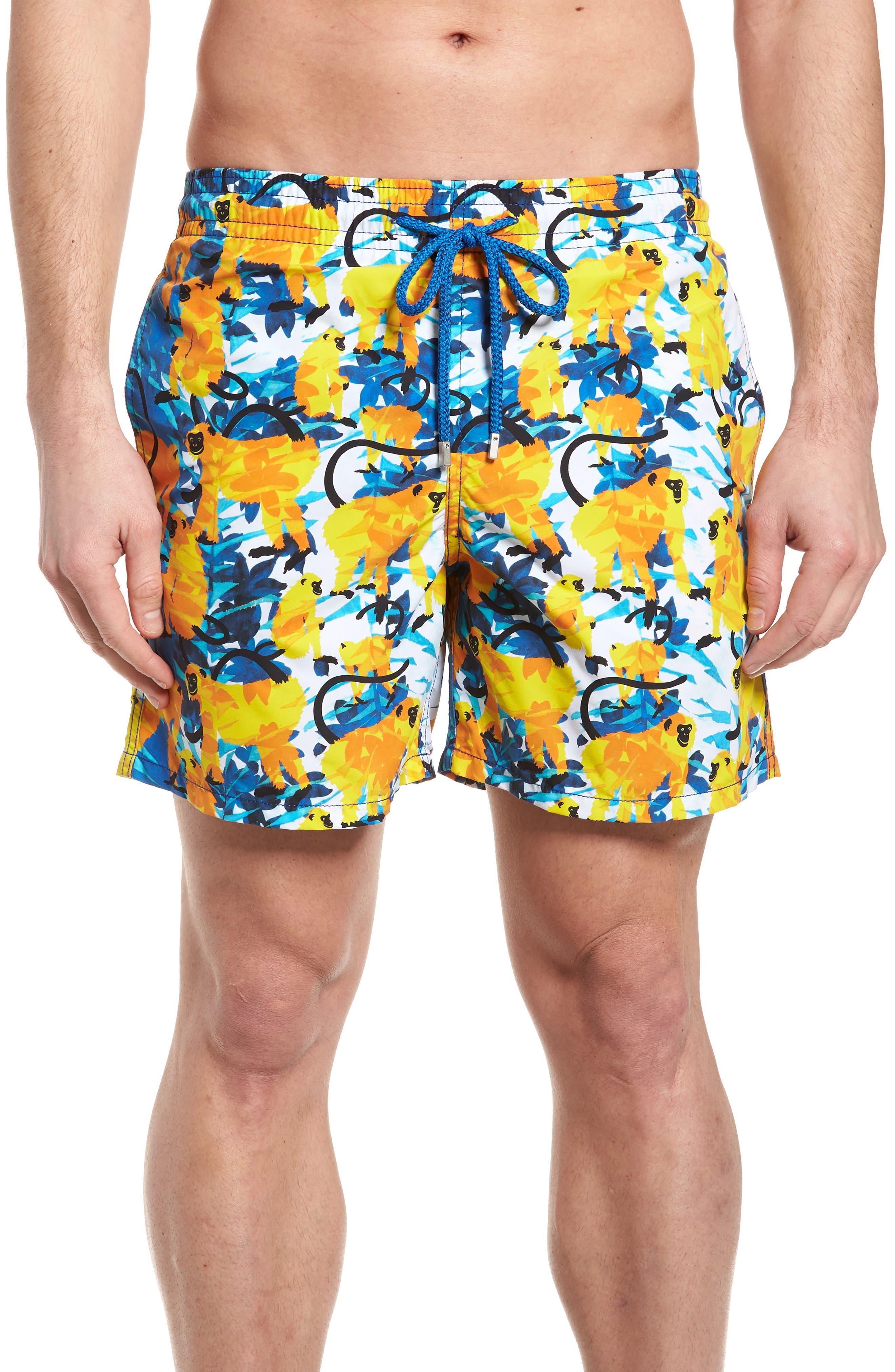 Happy Monkeys Print Swim Trunks,                         Main,                         color, 471