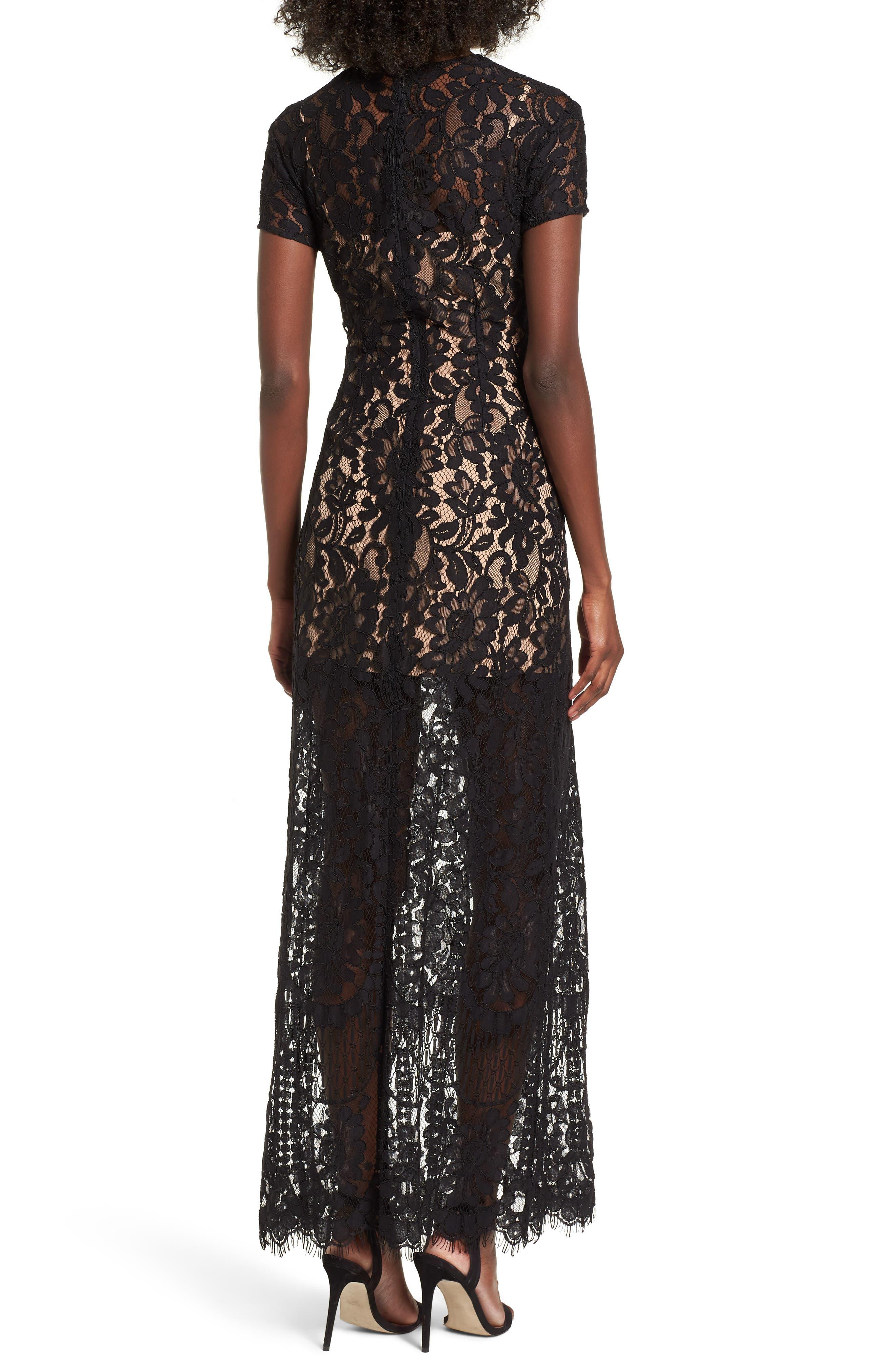 V-Neck Lace Maxi Dress,                             Alternate thumbnail 2, color,                             001