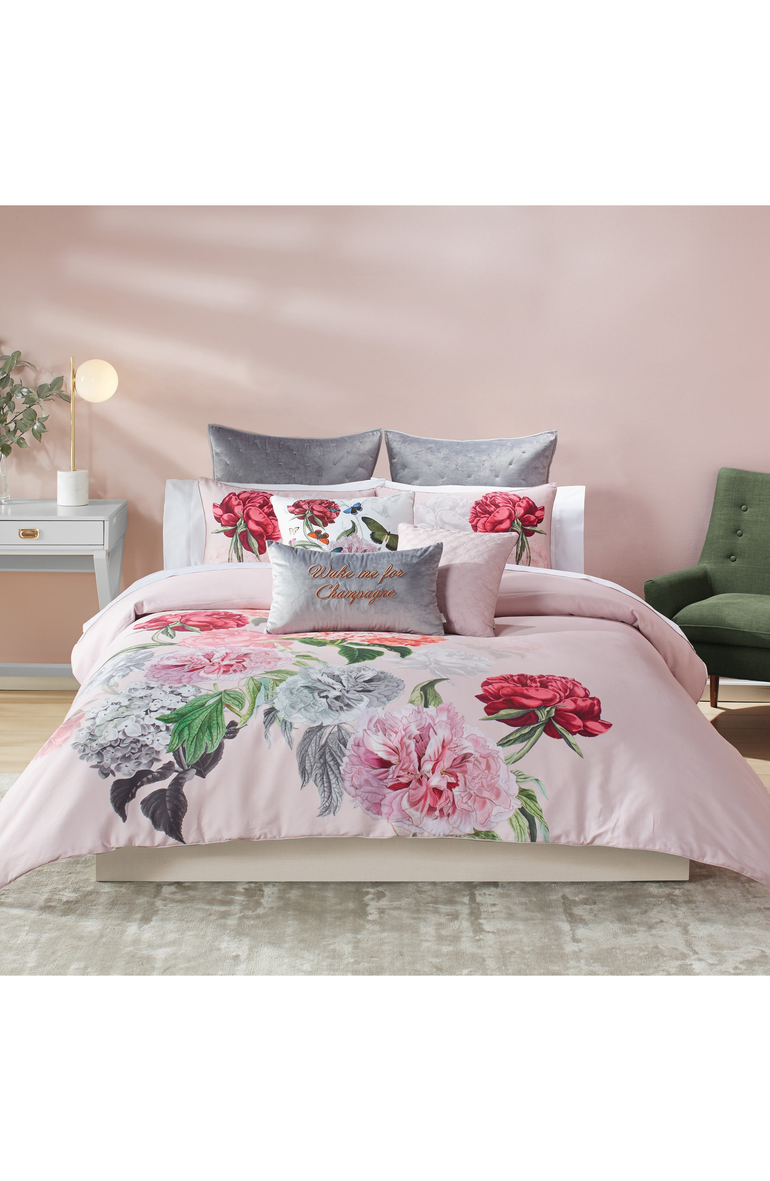 Palace Gardens Comforter & Sham Set,                             Main thumbnail 1, color,                             PINK