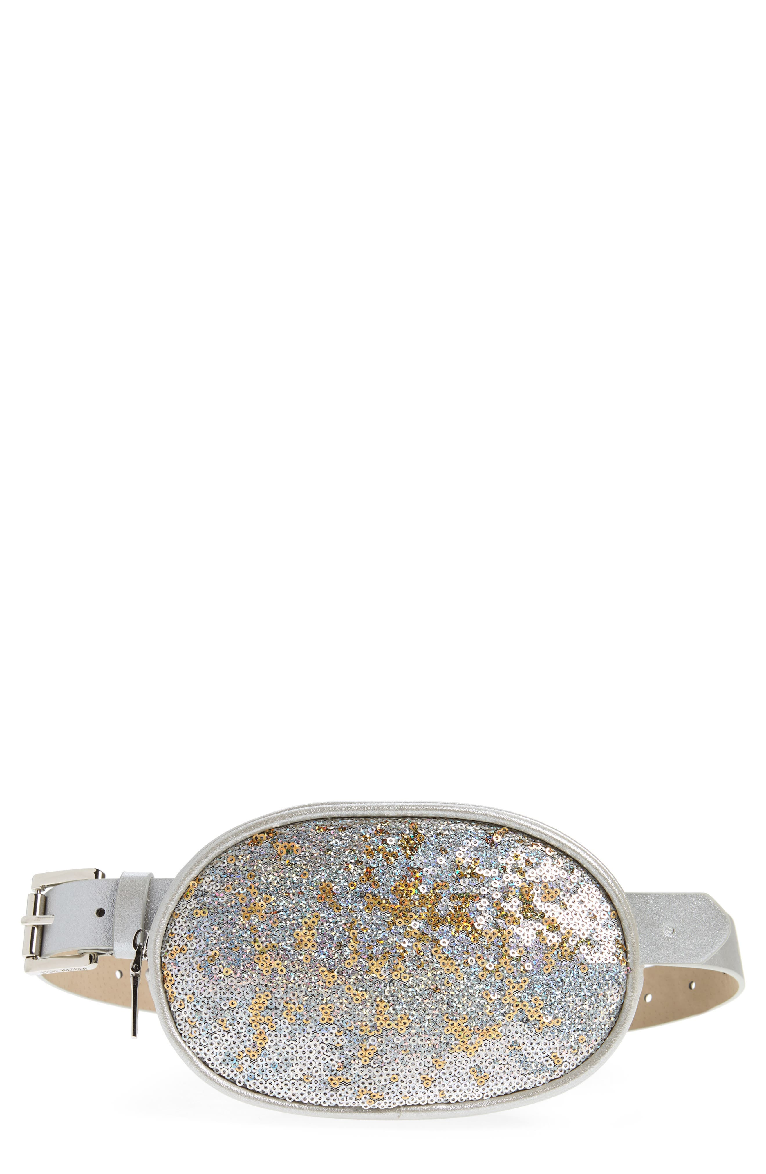 Sequin Faux Leather Belt Bag,                             Main thumbnail 1, color,                             SILVER
