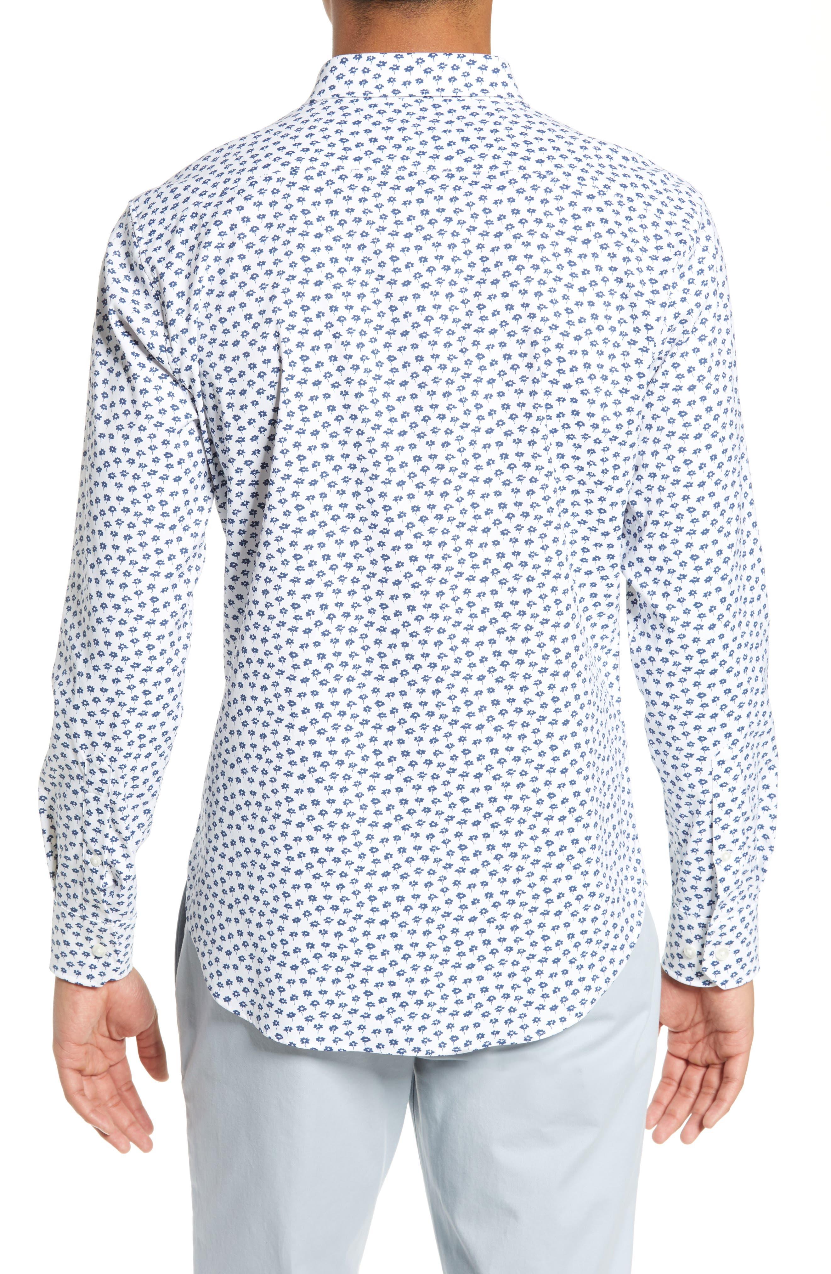 Slim Fit Floral Tech Sport Shirt,                             Alternate thumbnail 3, color,                             FLORAL STAMP - PEACOCK