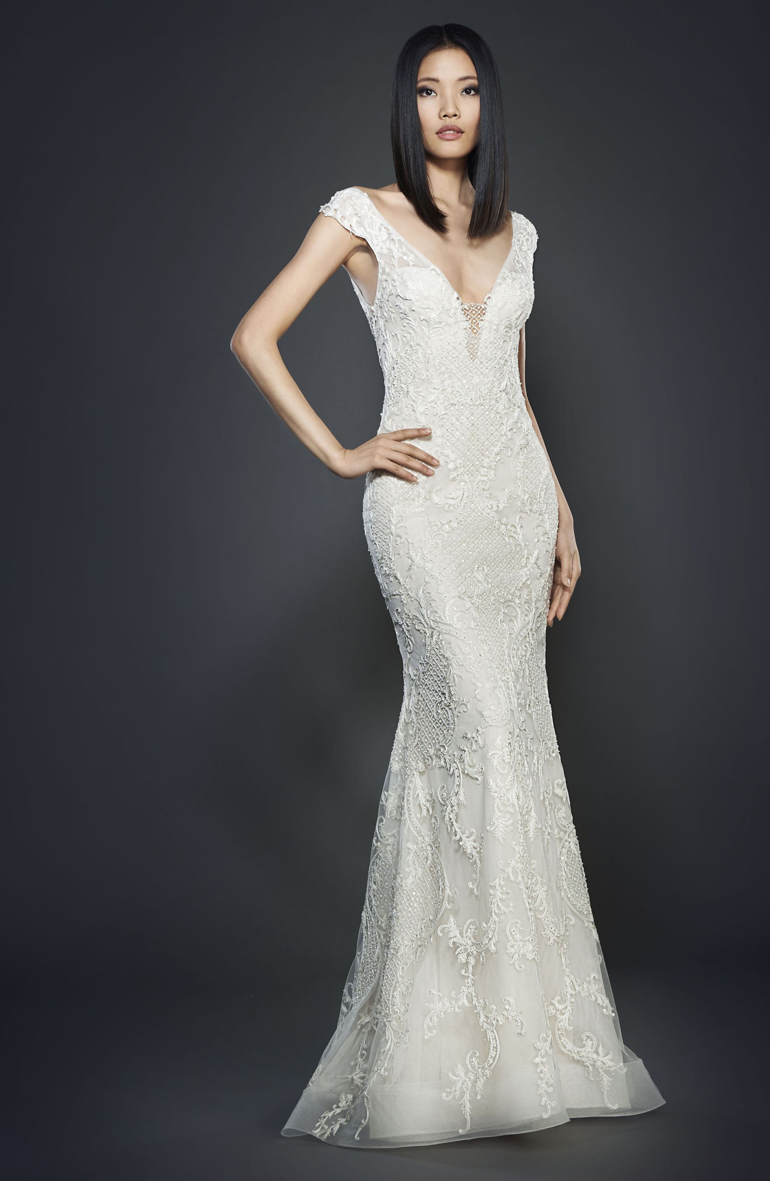 Embroidered Off the Shoulder Gown,                         Main,                         color, 900
