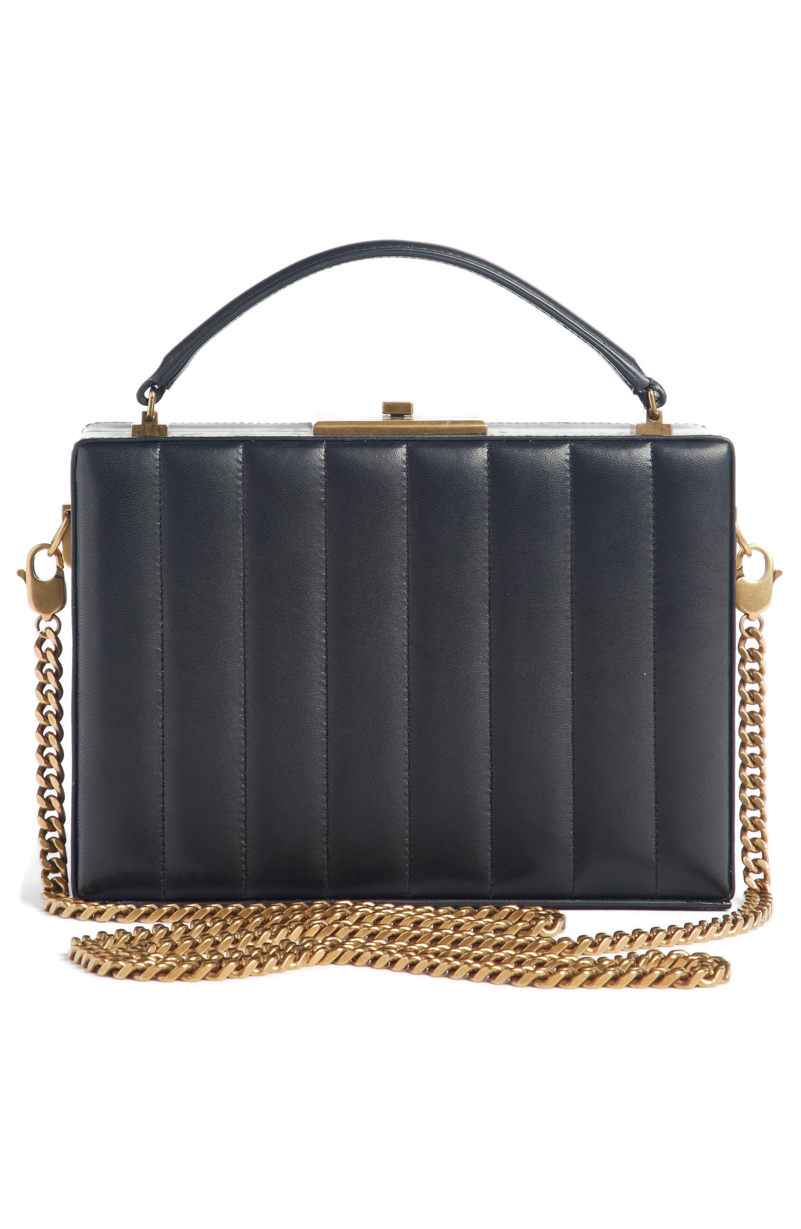 Nan Quilted Leather Frame Bag,                             Alternate thumbnail 2, color,                             NOIR