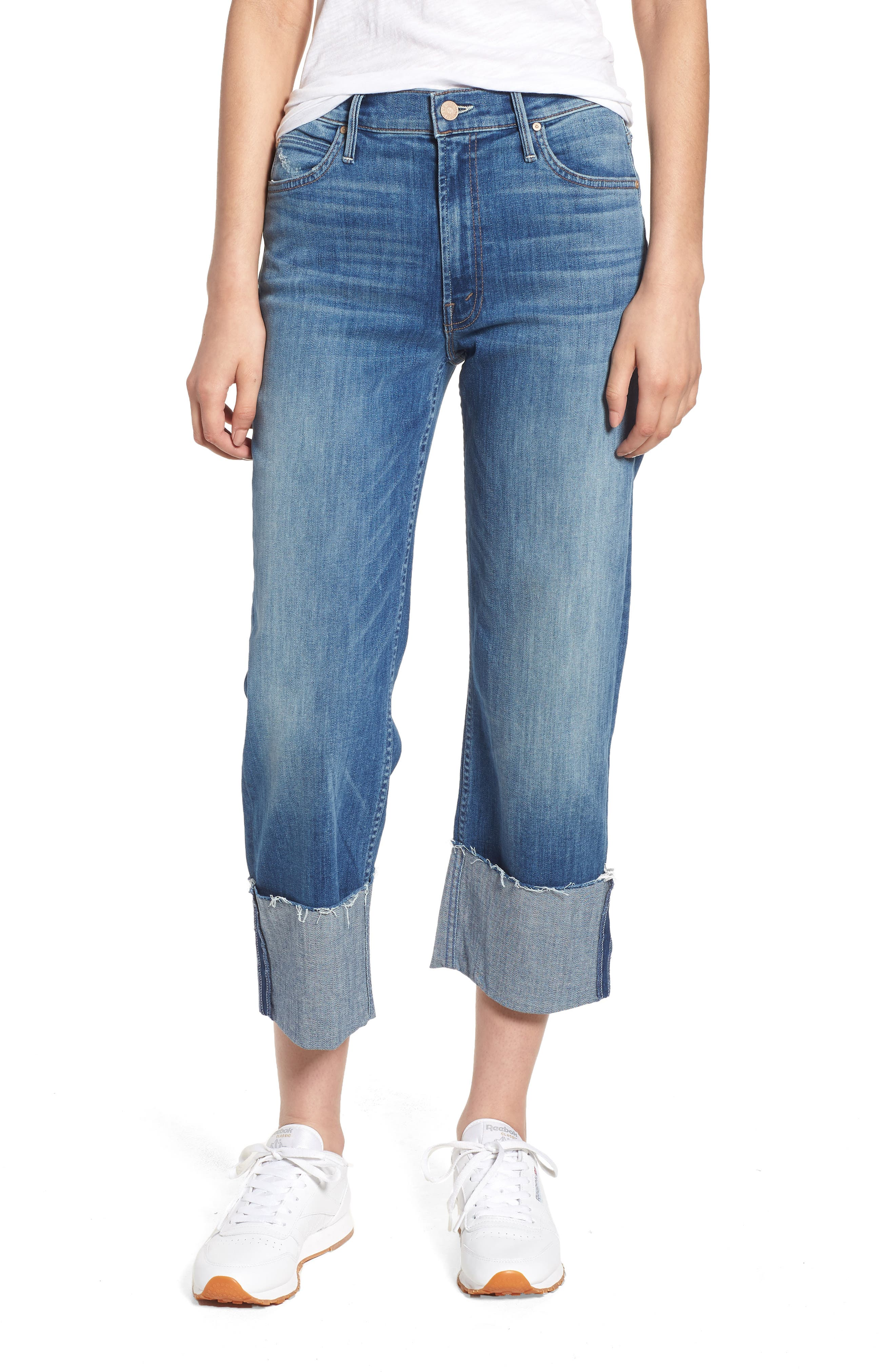 The Dusty Cuff Fray Straight Leg Jeans,                             Main thumbnail 1, color,