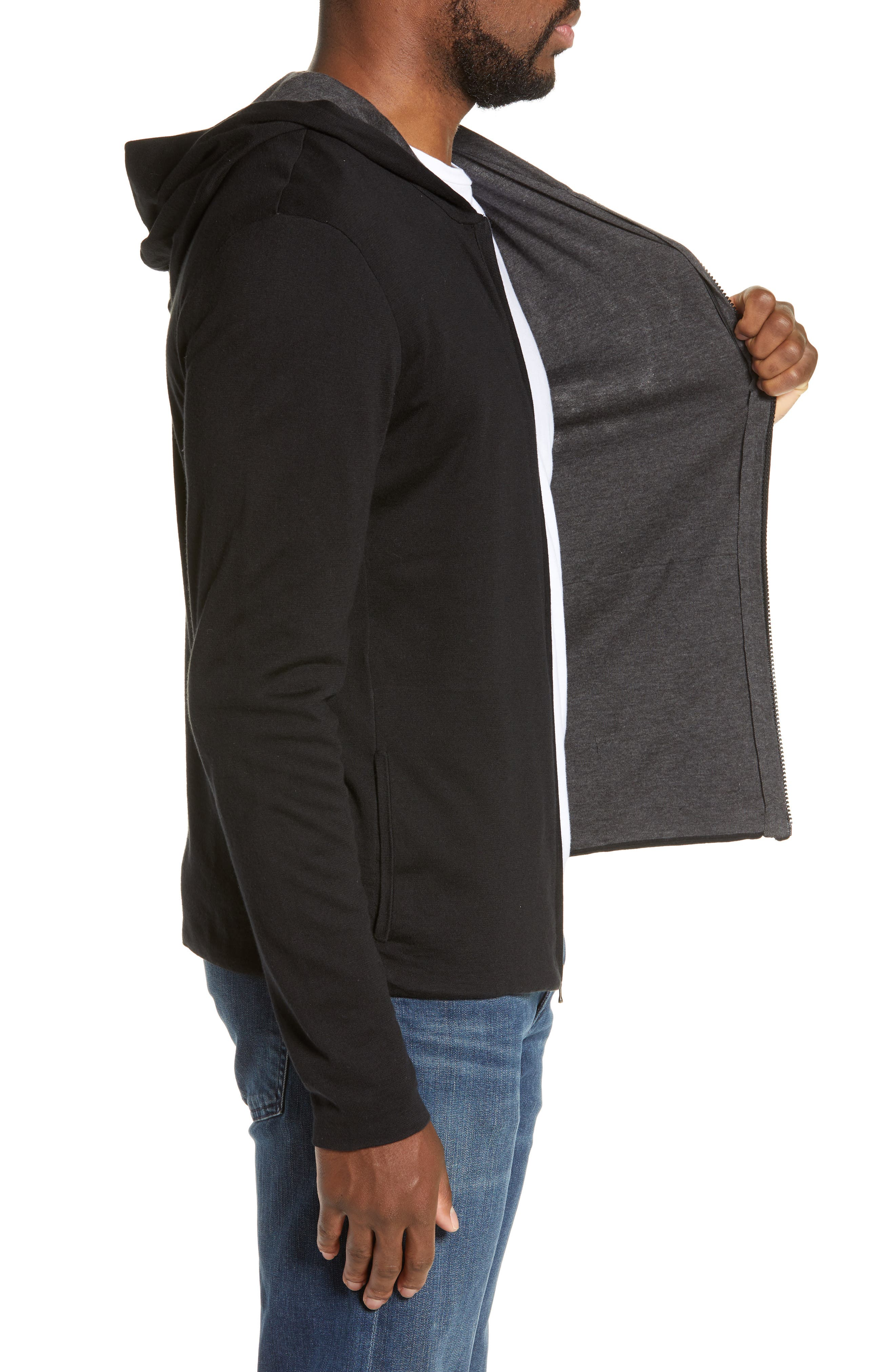 Double Layer Full Zip Hoodie,                             Alternate thumbnail 3, color,                             BLACK/ HEATHER CHARCOAL