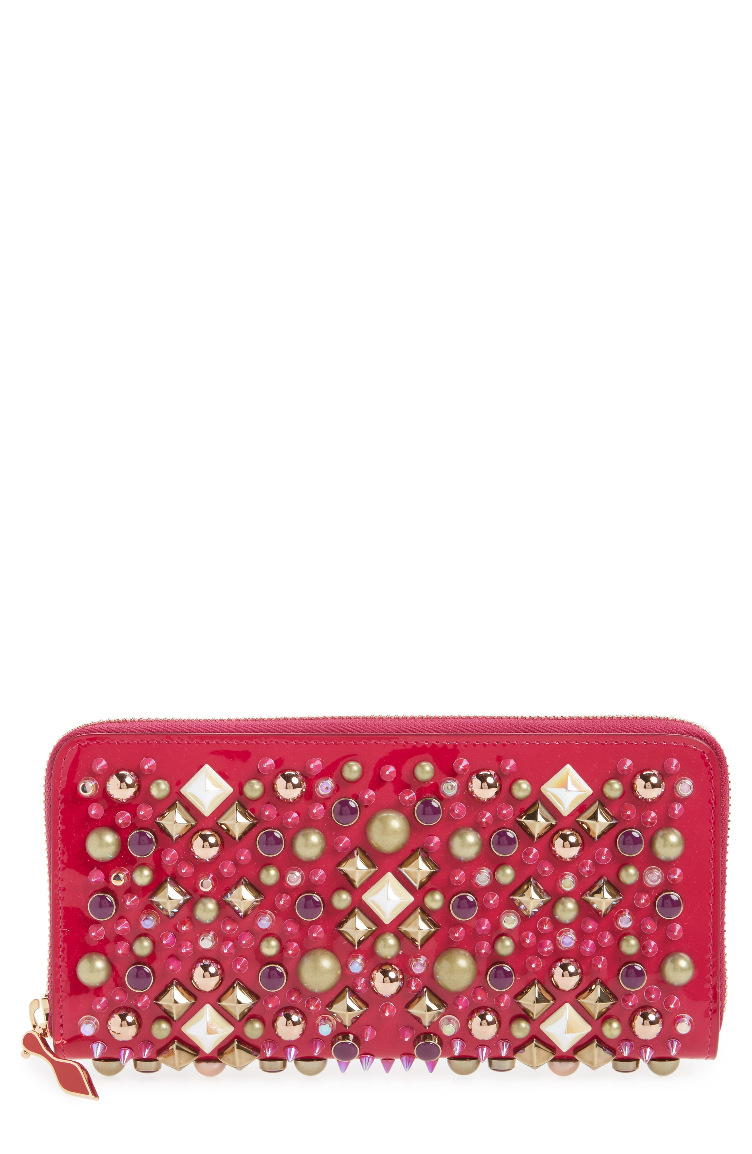 Panettone Spiked Patent Leather Wallet,                             Main thumbnail 1, color,                             693