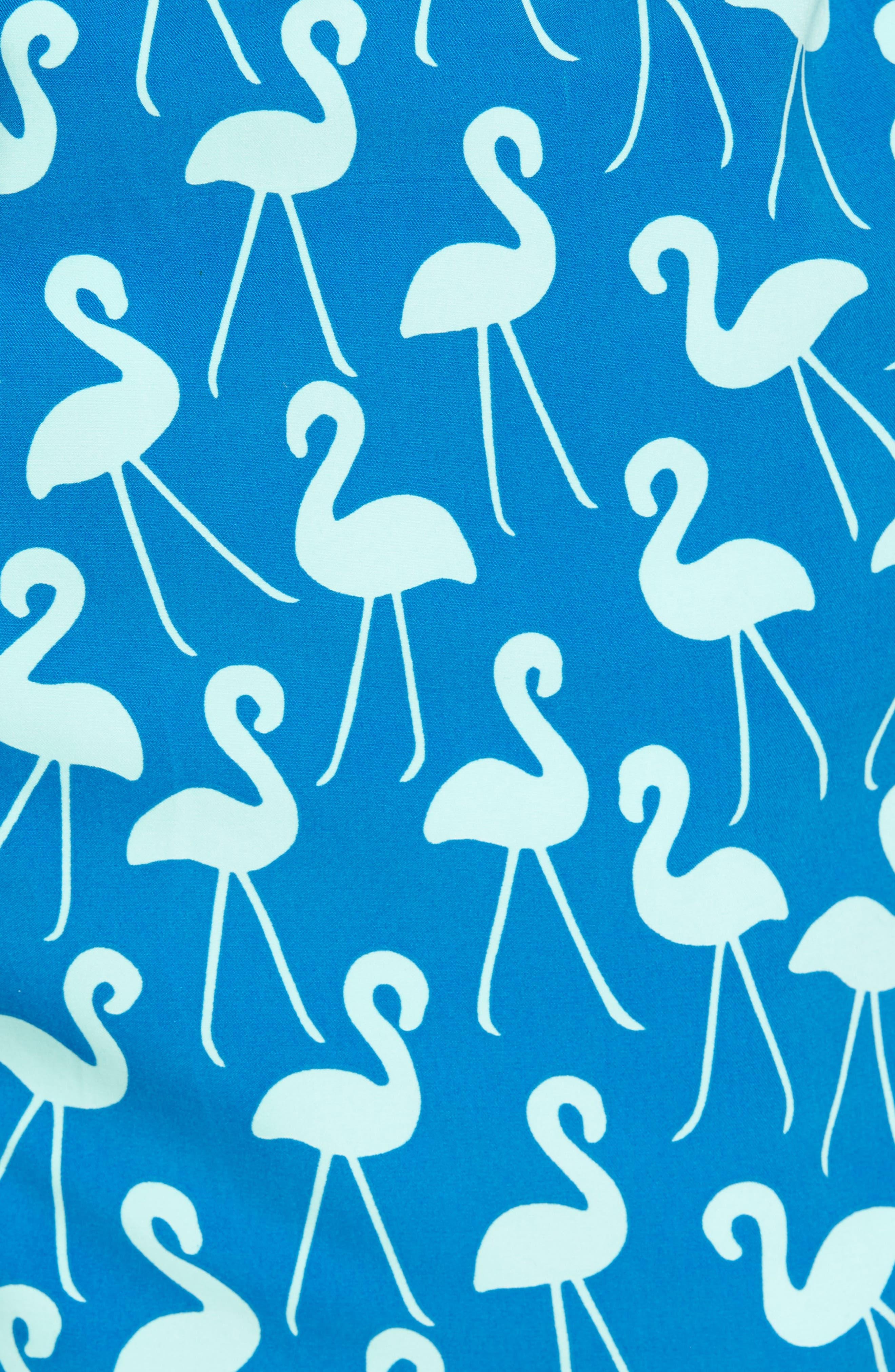 Flamingo Print Swim Trunks,                             Alternate thumbnail 5, color,                             420