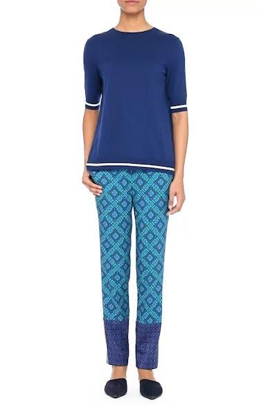 Sarita Tile Print Jersey Knit Sweater, video thumbnail
