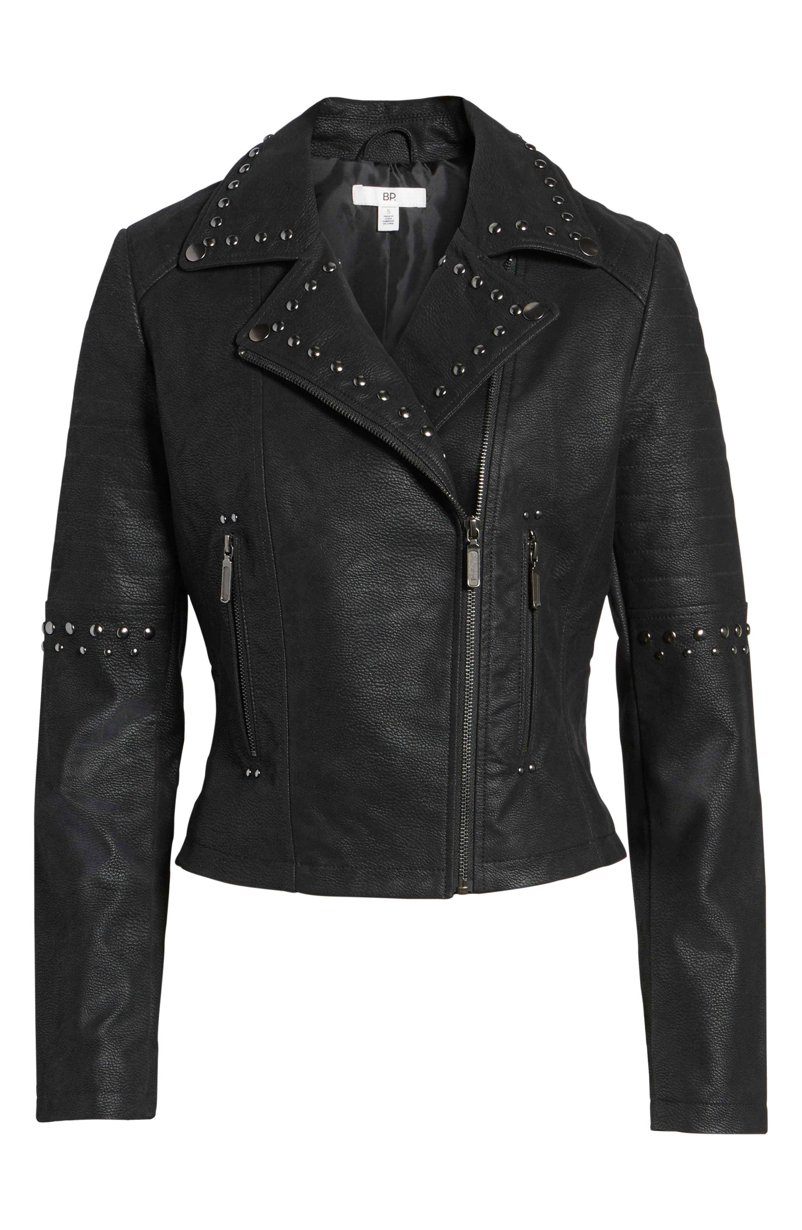 Studded Faux Leather Moto Jacket,                             Alternate thumbnail 5, color,                             001