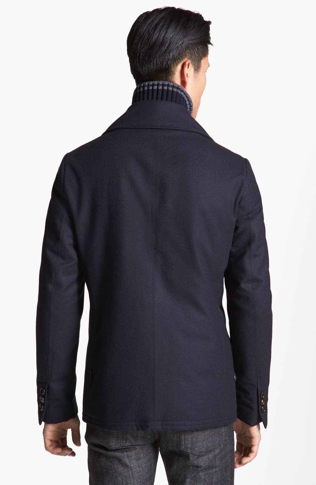 Double Breasted Wool Peacoat with Removable Down Bib,                             Alternate thumbnail 2, color,                             419