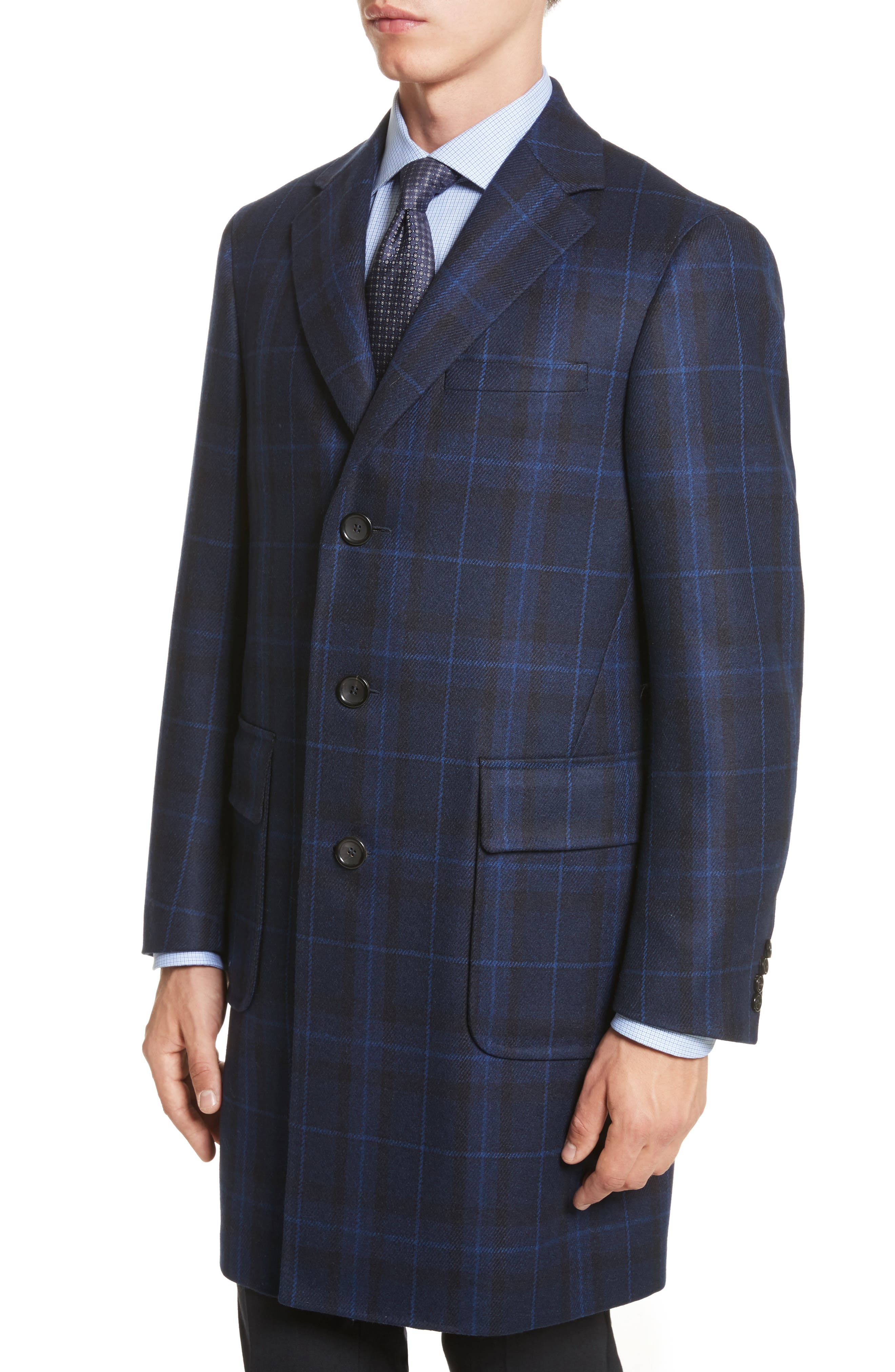 Classic Fit Plaid Wool & Cashmere Blend Topcoat,                             Alternate thumbnail 4, color,                             410