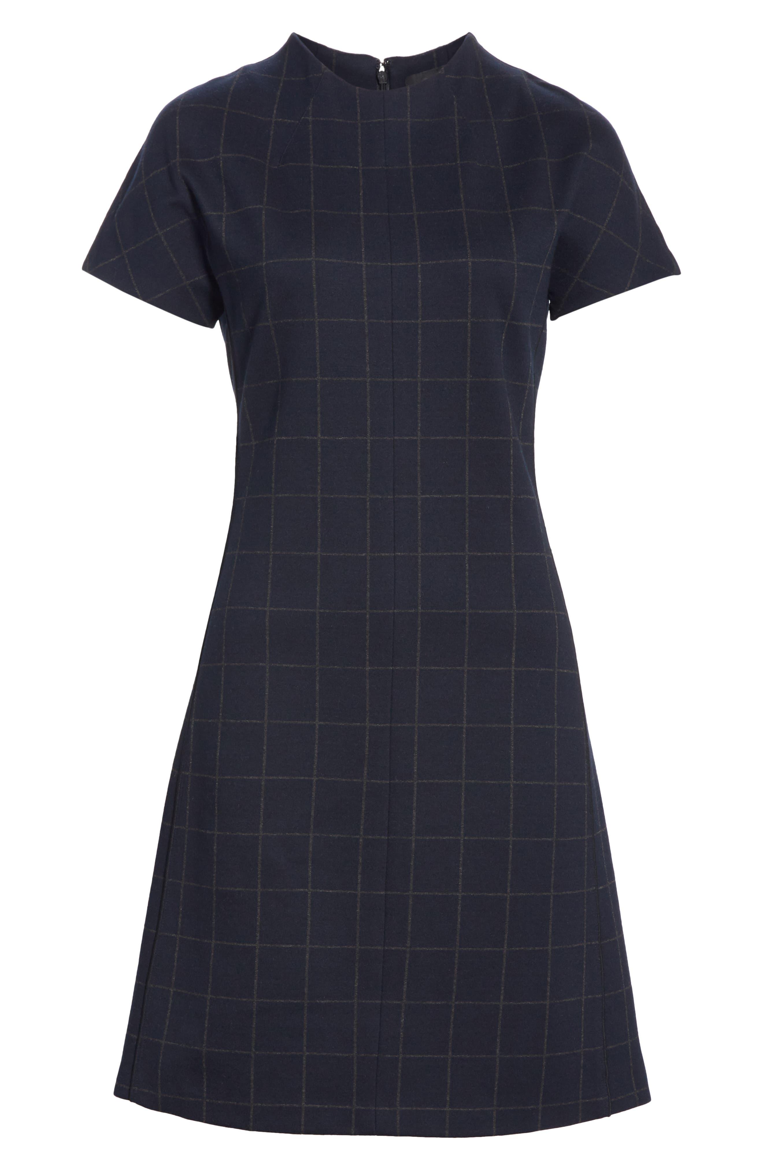 Windowpane Knit A-Line Dress,                             Alternate thumbnail 6, color,                             DEEP NAVY/ CHARCOAL MELANGE