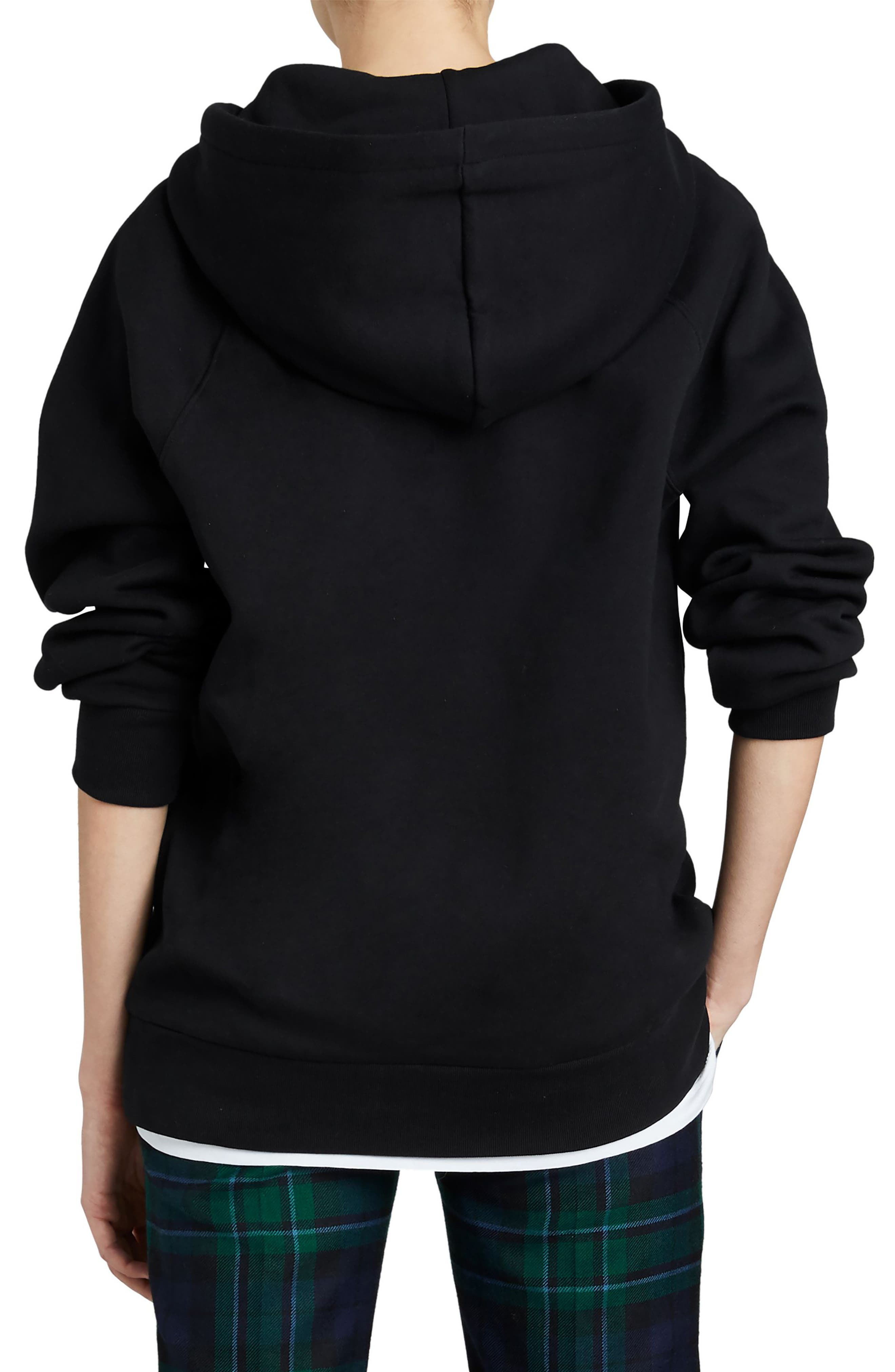 Krayford Embroidered Cotton Blend Hoodie,                             Alternate thumbnail 2, color,                             BLACK