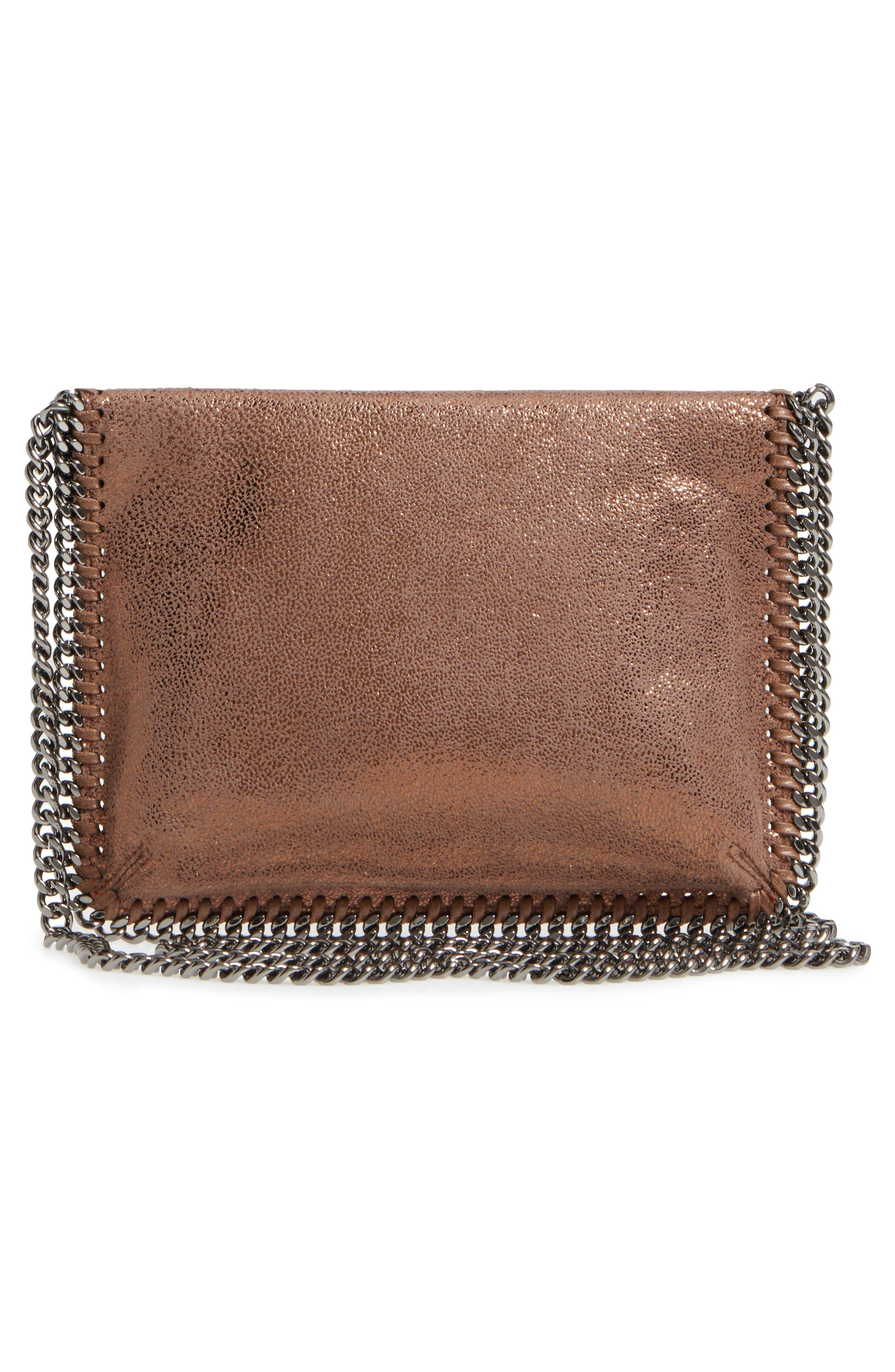 Metallic Faux Leather Crossbody Bag,                             Alternate thumbnail 3, color,                             200