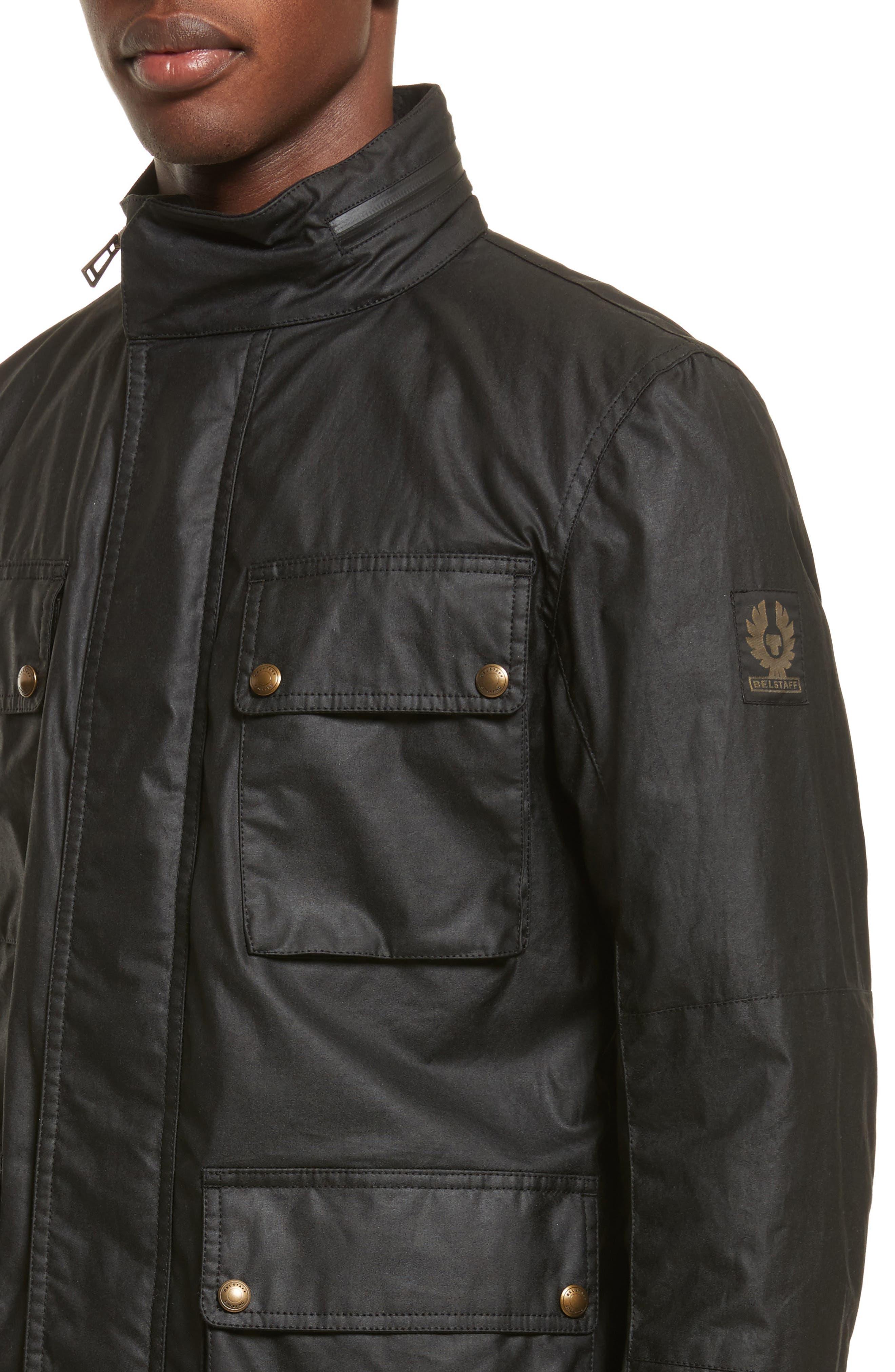Explorer Waxed Cotton Jacket,                             Alternate thumbnail 4, color,                             BLACK