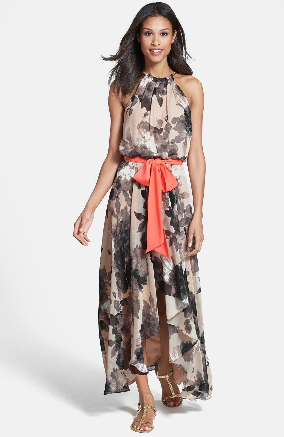 Floral Print Chiffon Maxi Dress,                         Main,                         color, TAUPE/ BLACK