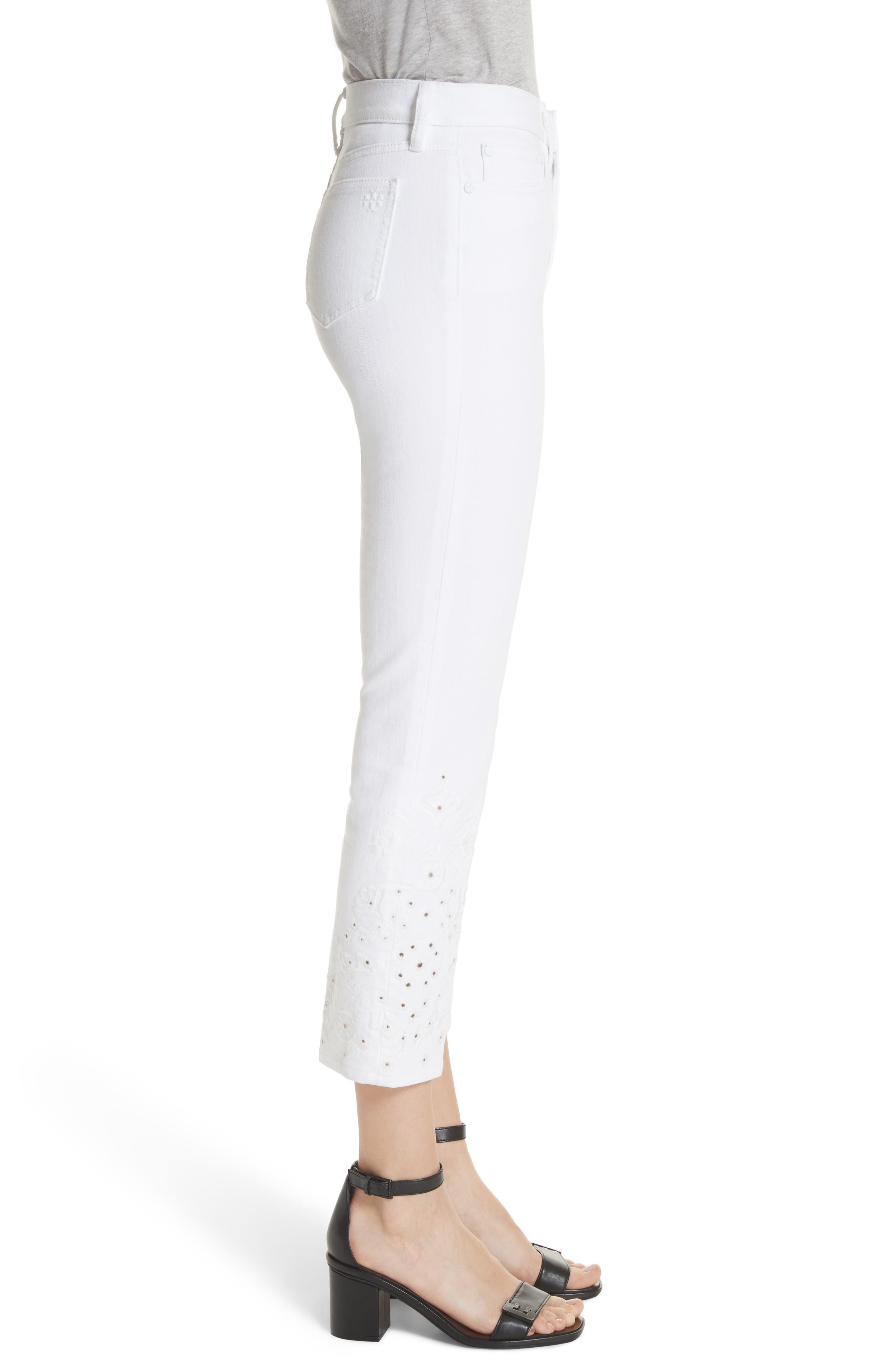 Keira Eyelet Hem Crop Jeans,                             Alternate thumbnail 3, color,                             100