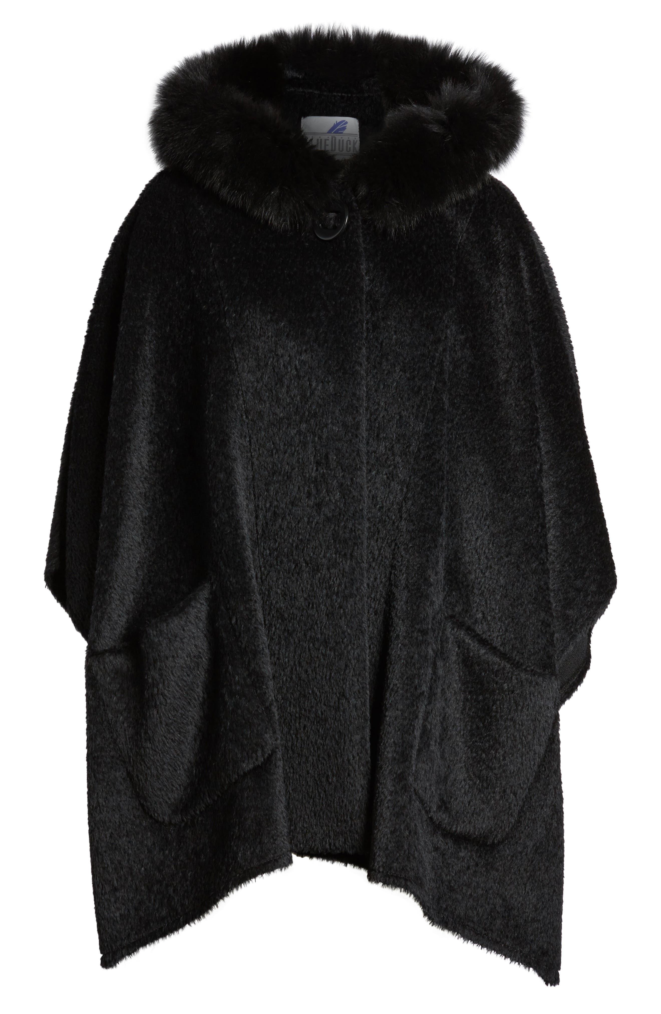 Hooded Genuine Fox Fur Trim Wool Blend Cape,                             Alternate thumbnail 5, color,                             003