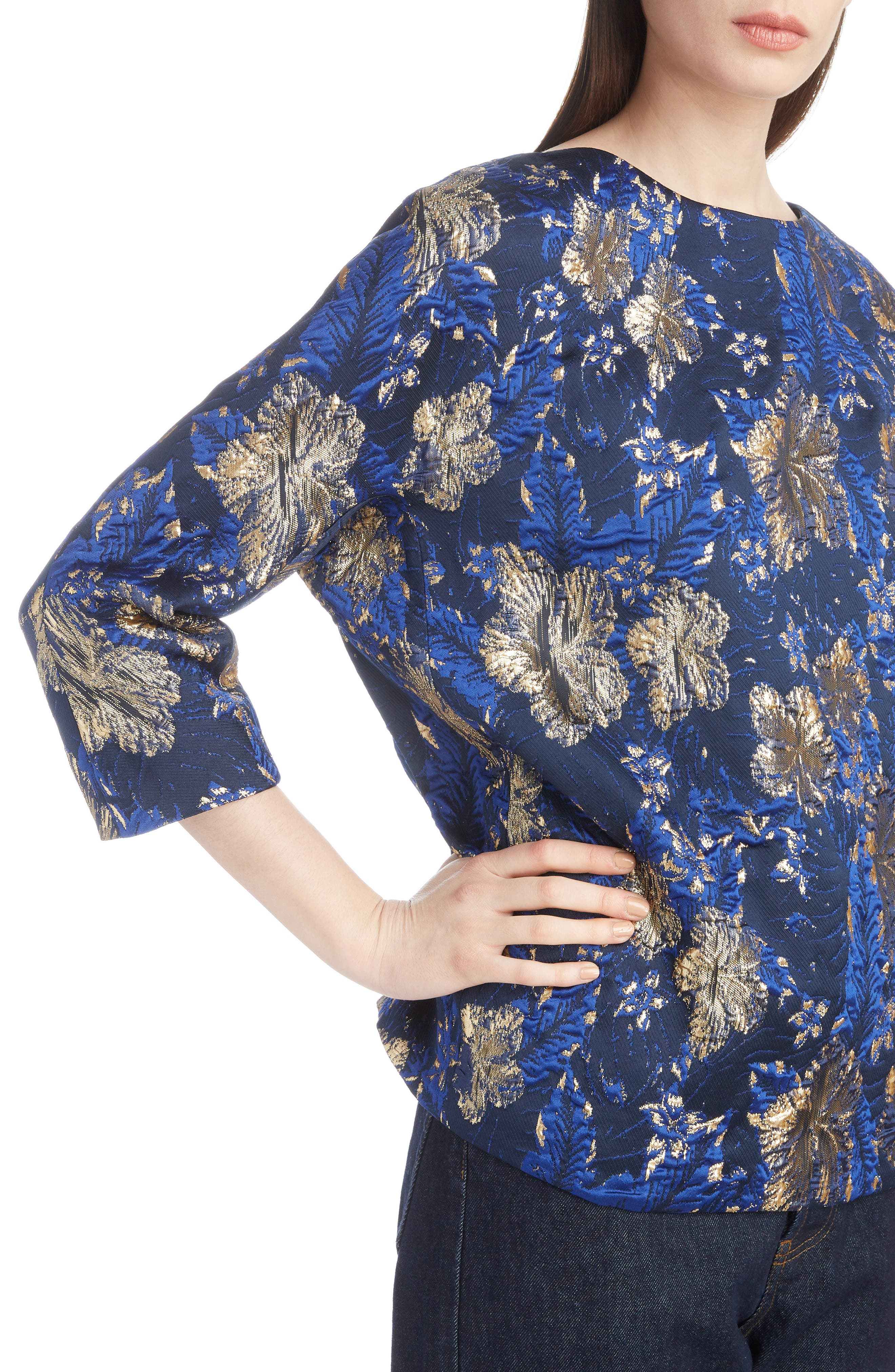 Metallic Floral Jacquard Top,                             Alternate thumbnail 4, color,                             BLUE