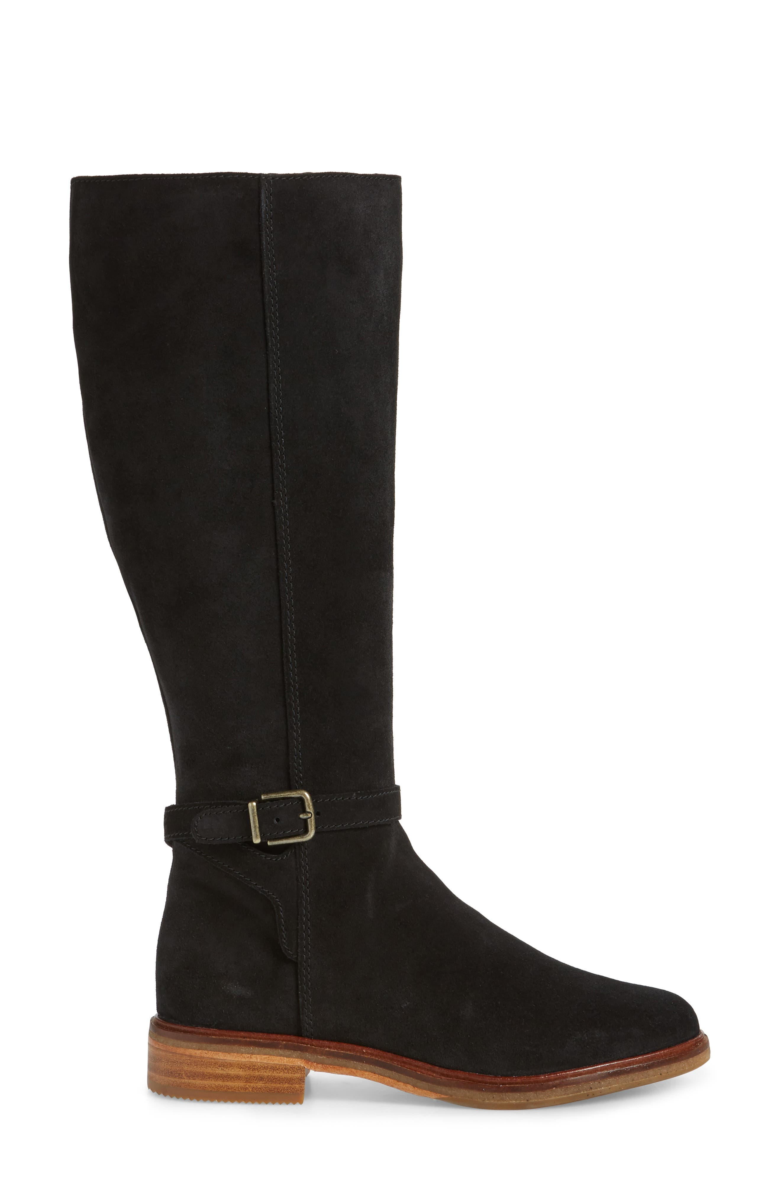 Clarkdale Clad Boot,                             Alternate thumbnail 3, color,                             BLACK SUEDE