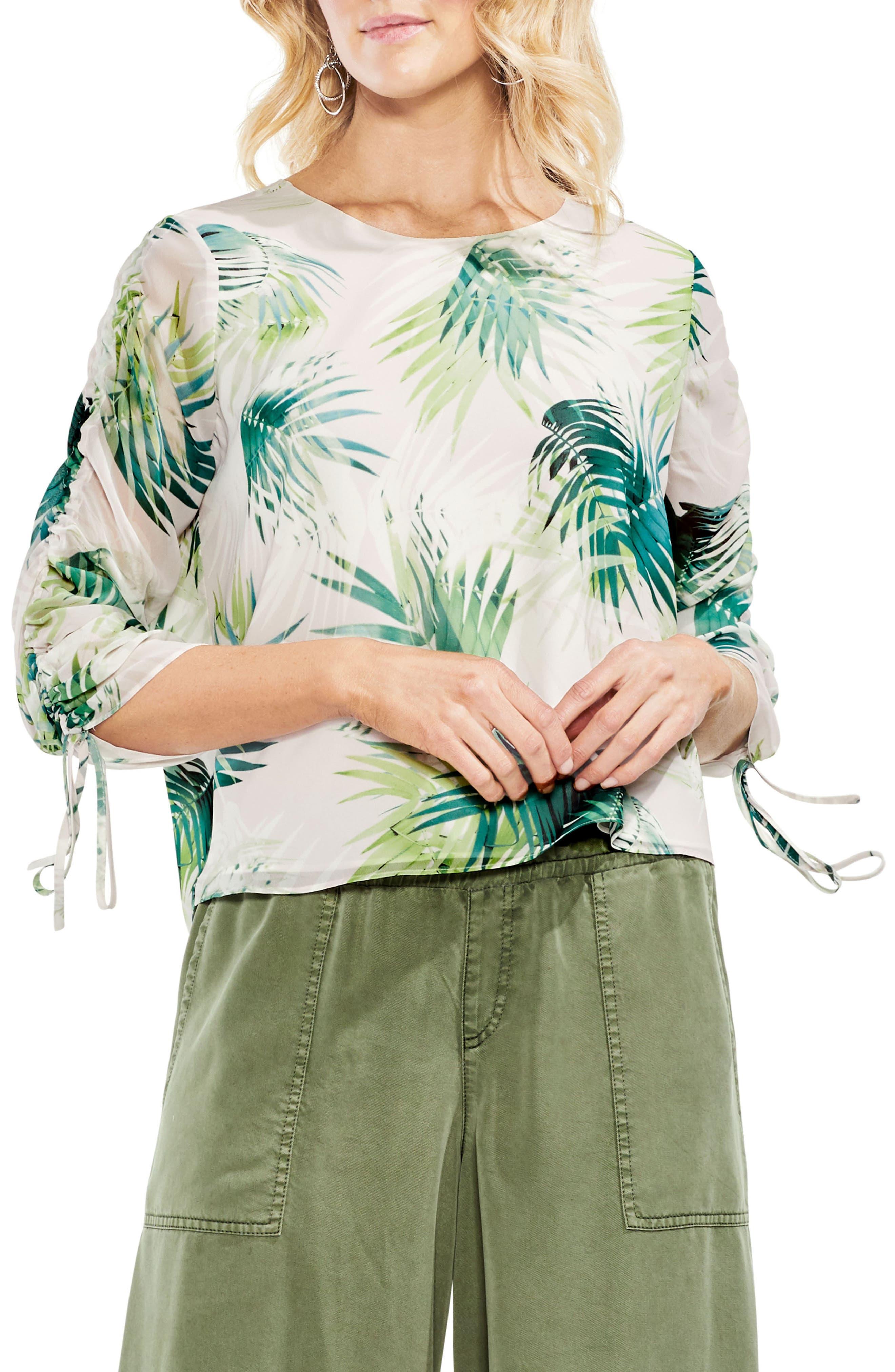 Drawstring Sleeve Sunlit Palm Print Top,                         Main,                         color, 300