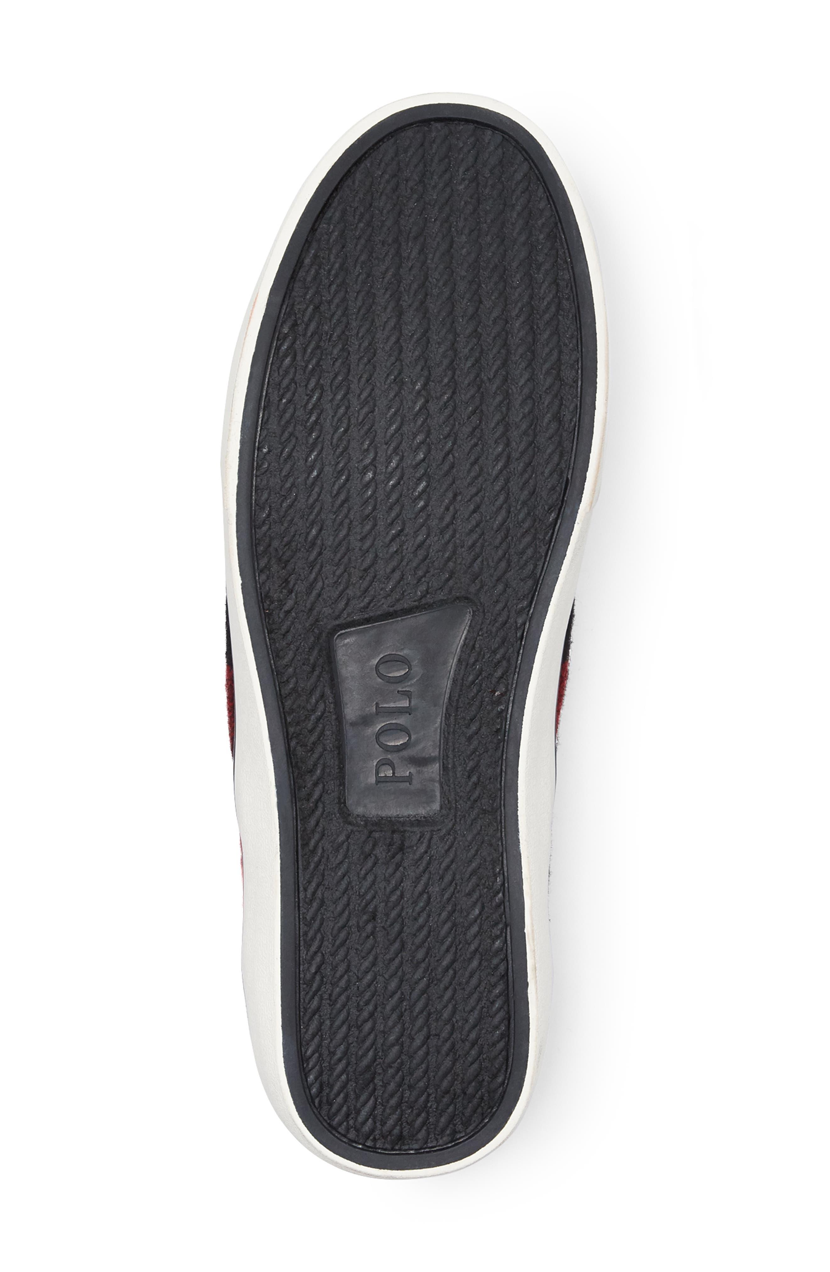 Thompson Wool Slip-On Sneaker,                             Alternate thumbnail 4, color,                             BLACK / RED