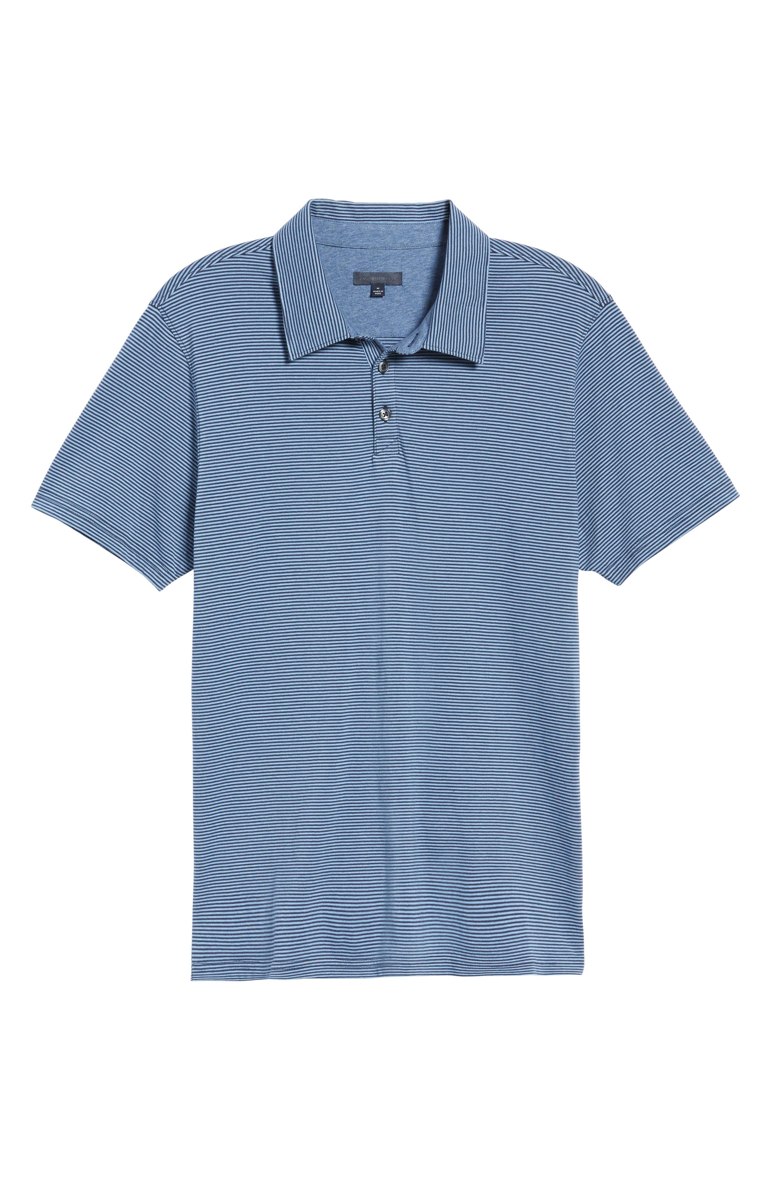 Gilmore Stripe Jersey Polo,                             Alternate thumbnail 6, color,                             BLUE