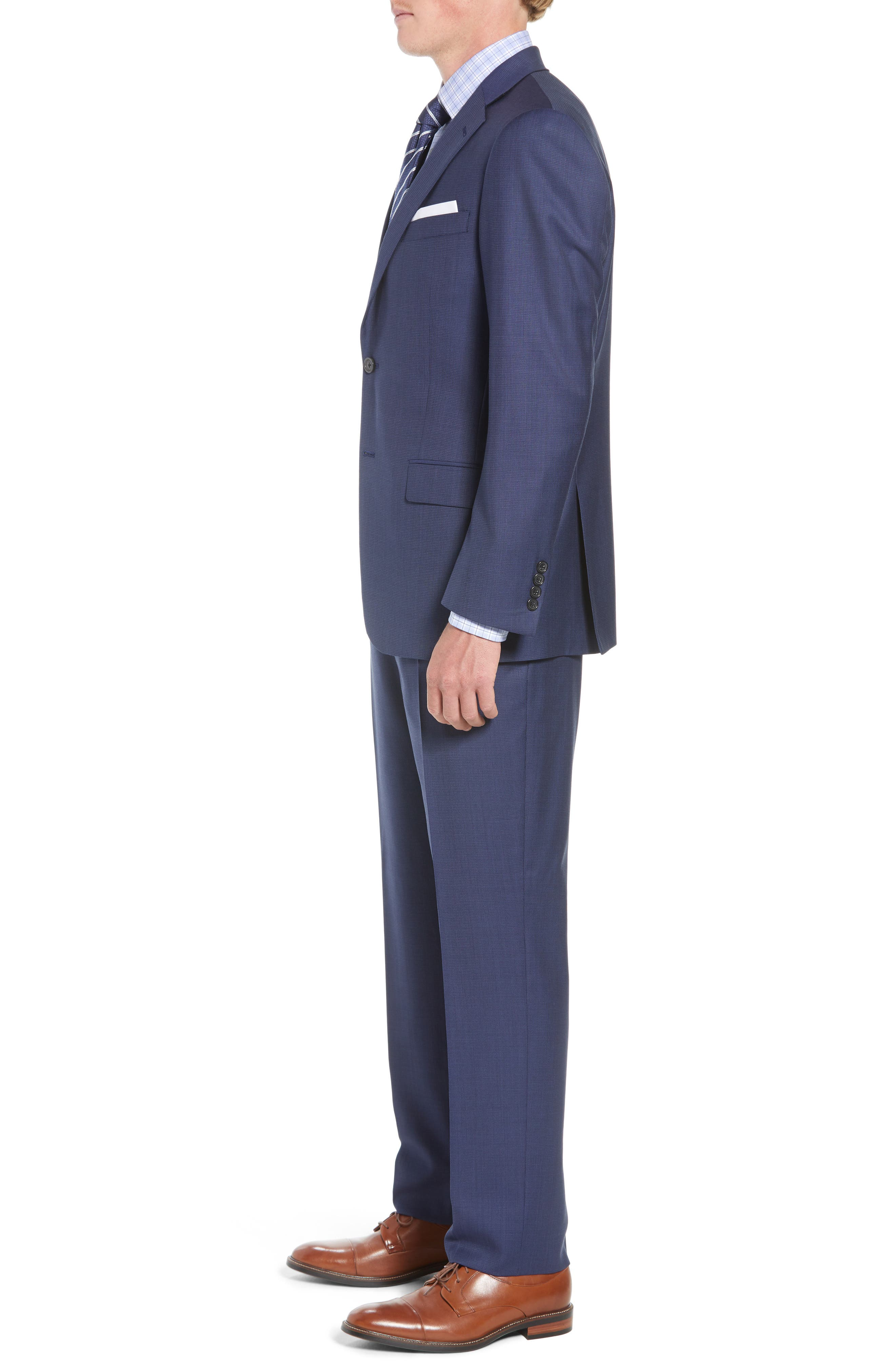 New York Classic Fit Check Wool Suit,                             Alternate thumbnail 3, color,                             MED BLUE