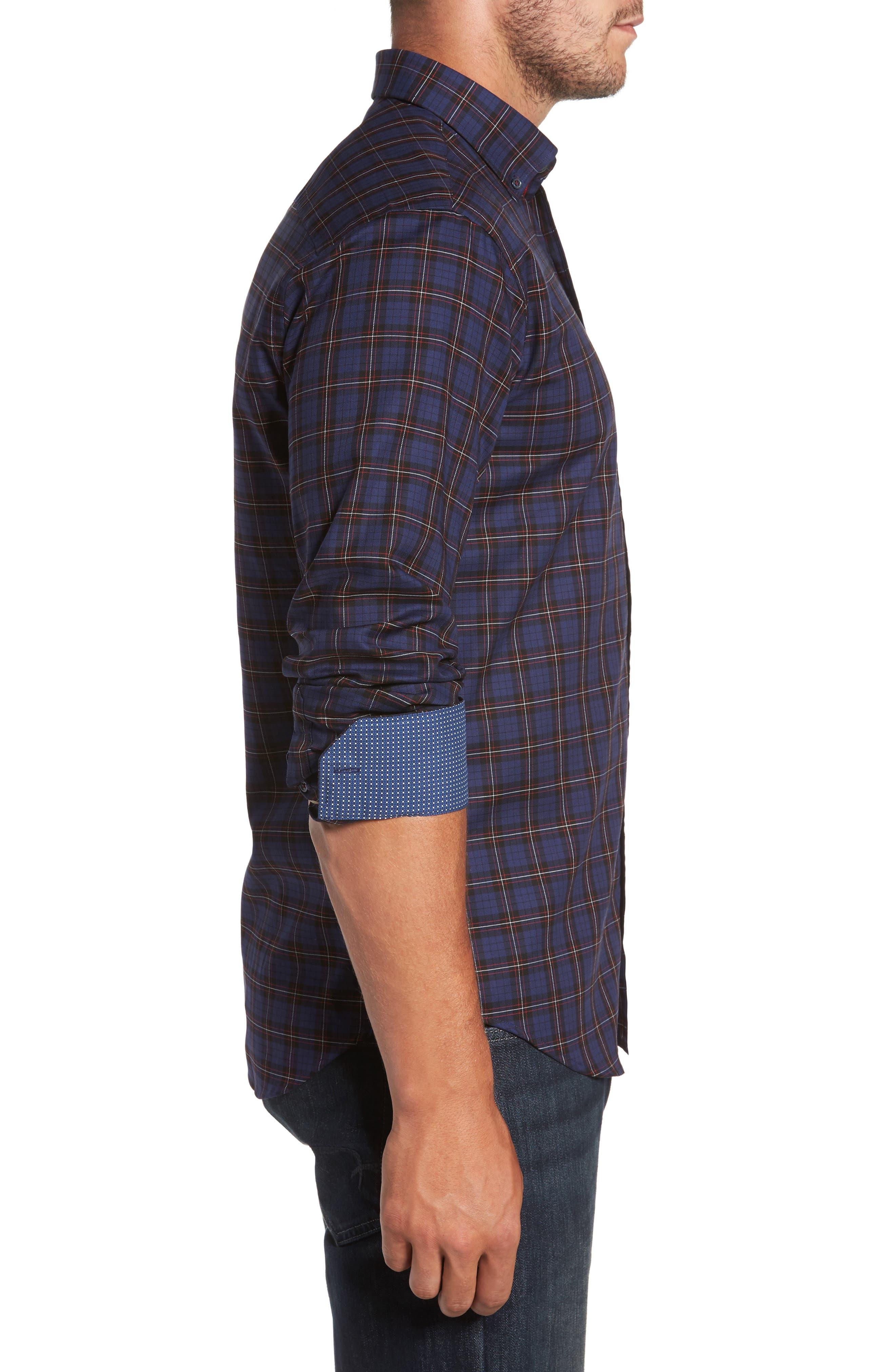 Trim Fit Box Check Sport Shirt,                             Alternate thumbnail 3, color,                             410