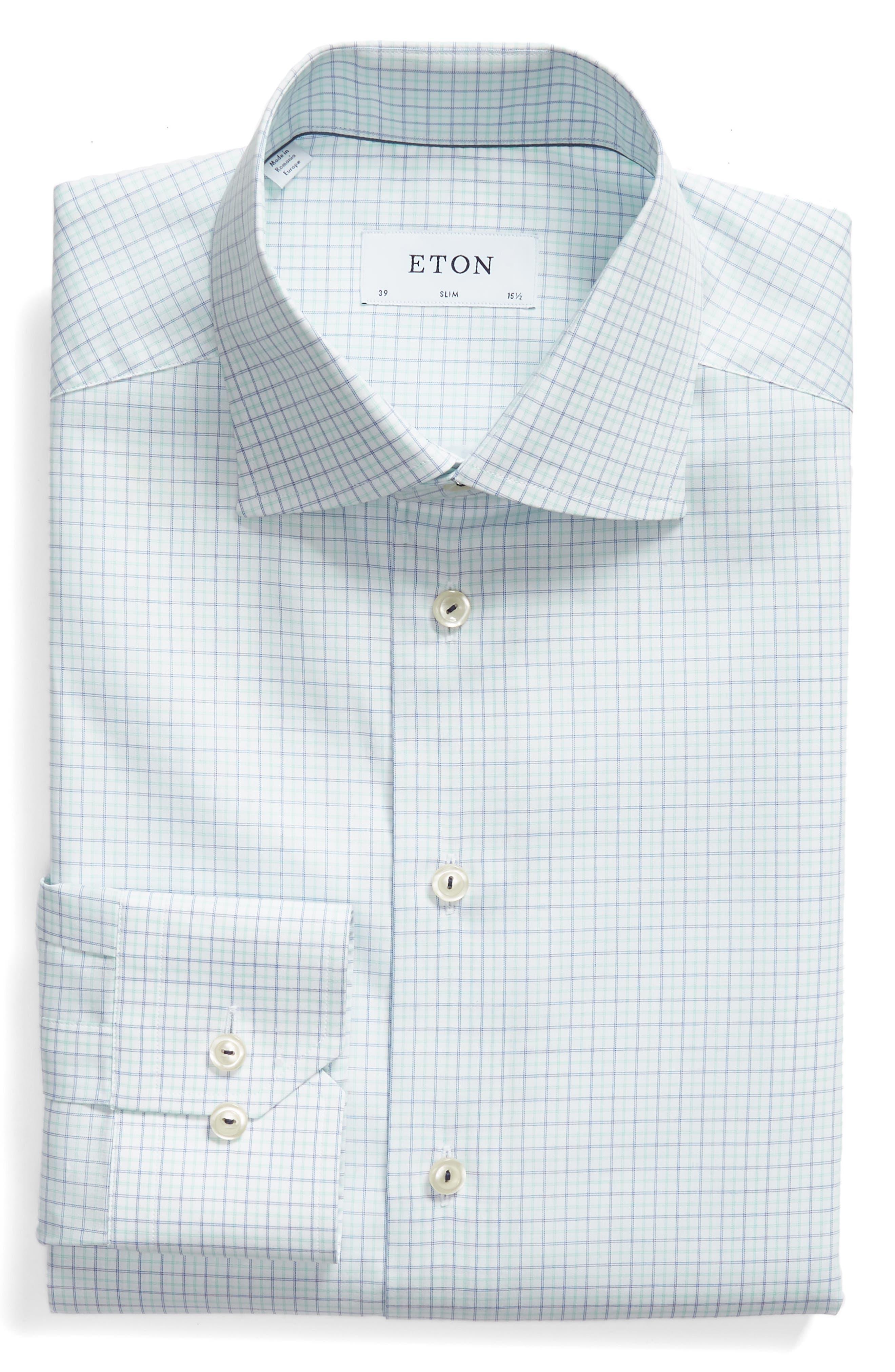 Slim Fit Check Dress Shirt,                             Alternate thumbnail 5, color,                             300