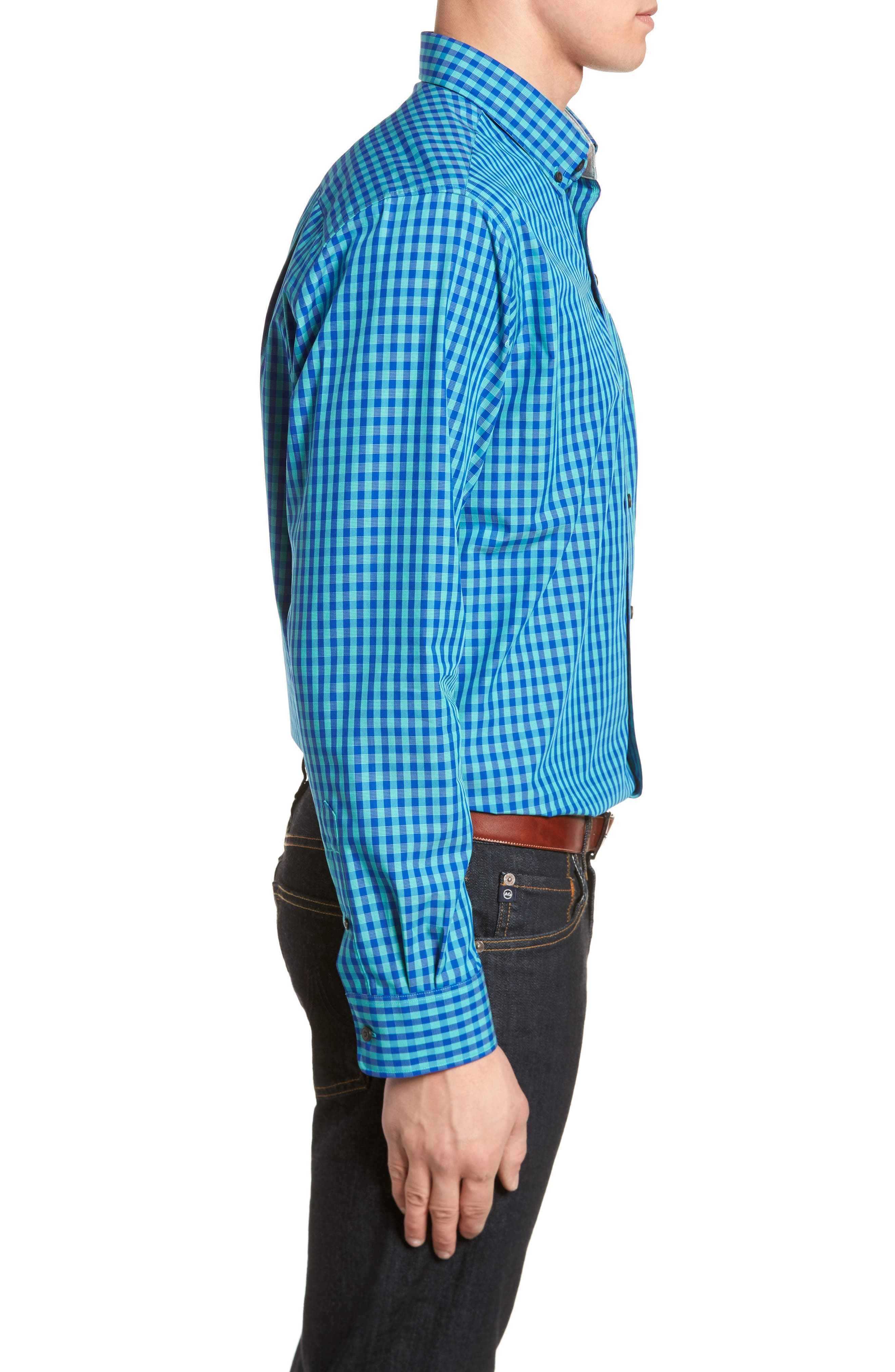 Myles Classic Fit Non-Iron Gingham Sport Shirt,                             Alternate thumbnail 3, color,                             NEWPORT
