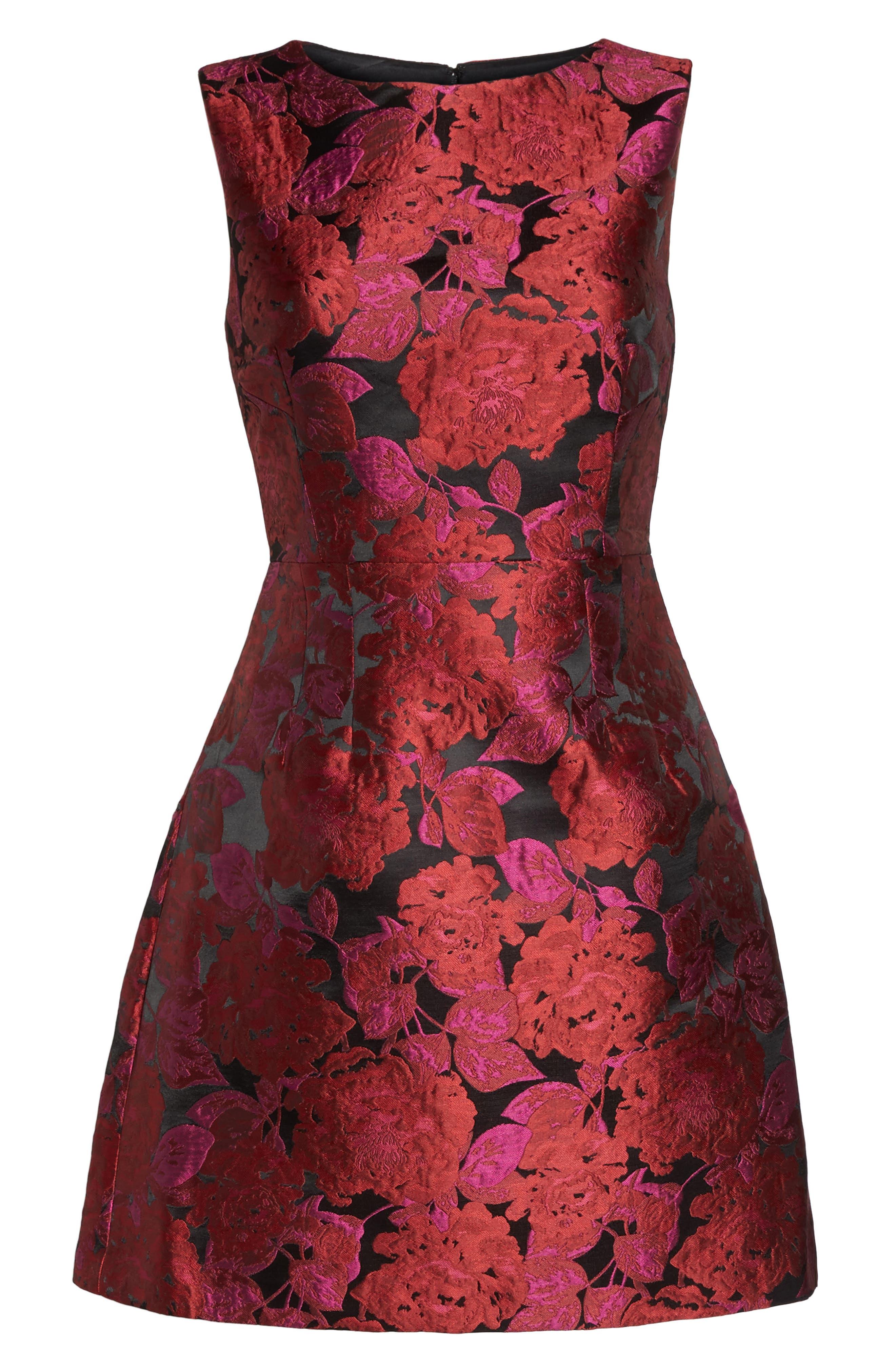 Jacquard Fit & Flare Dress,                             Alternate thumbnail 6, color,                             635