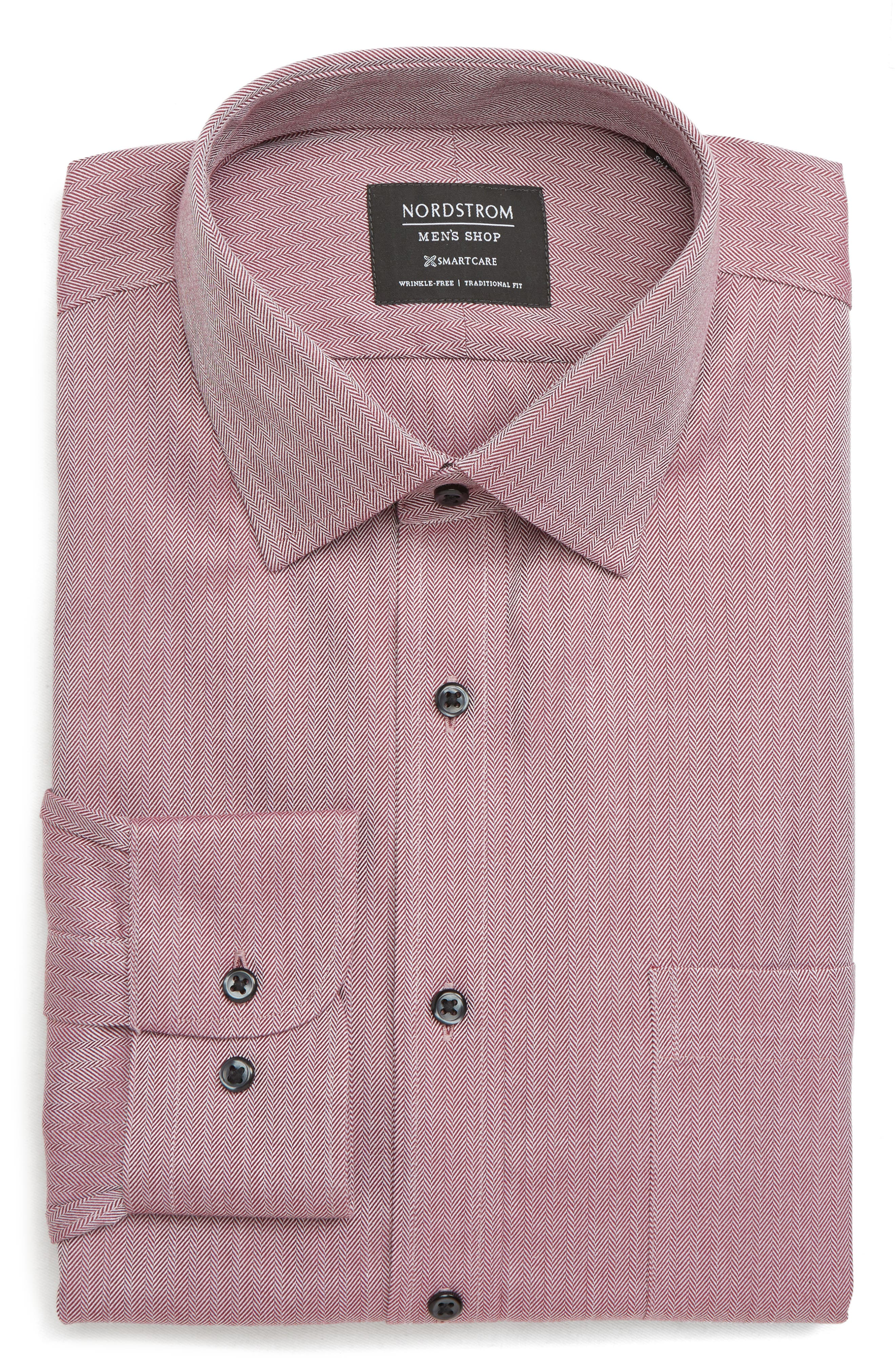 Smartcare<sup>™</sup> Traditional Fit Herringbone Dress Shirt,                             Main thumbnail 1, color,                             BURGUNDY ROYALE