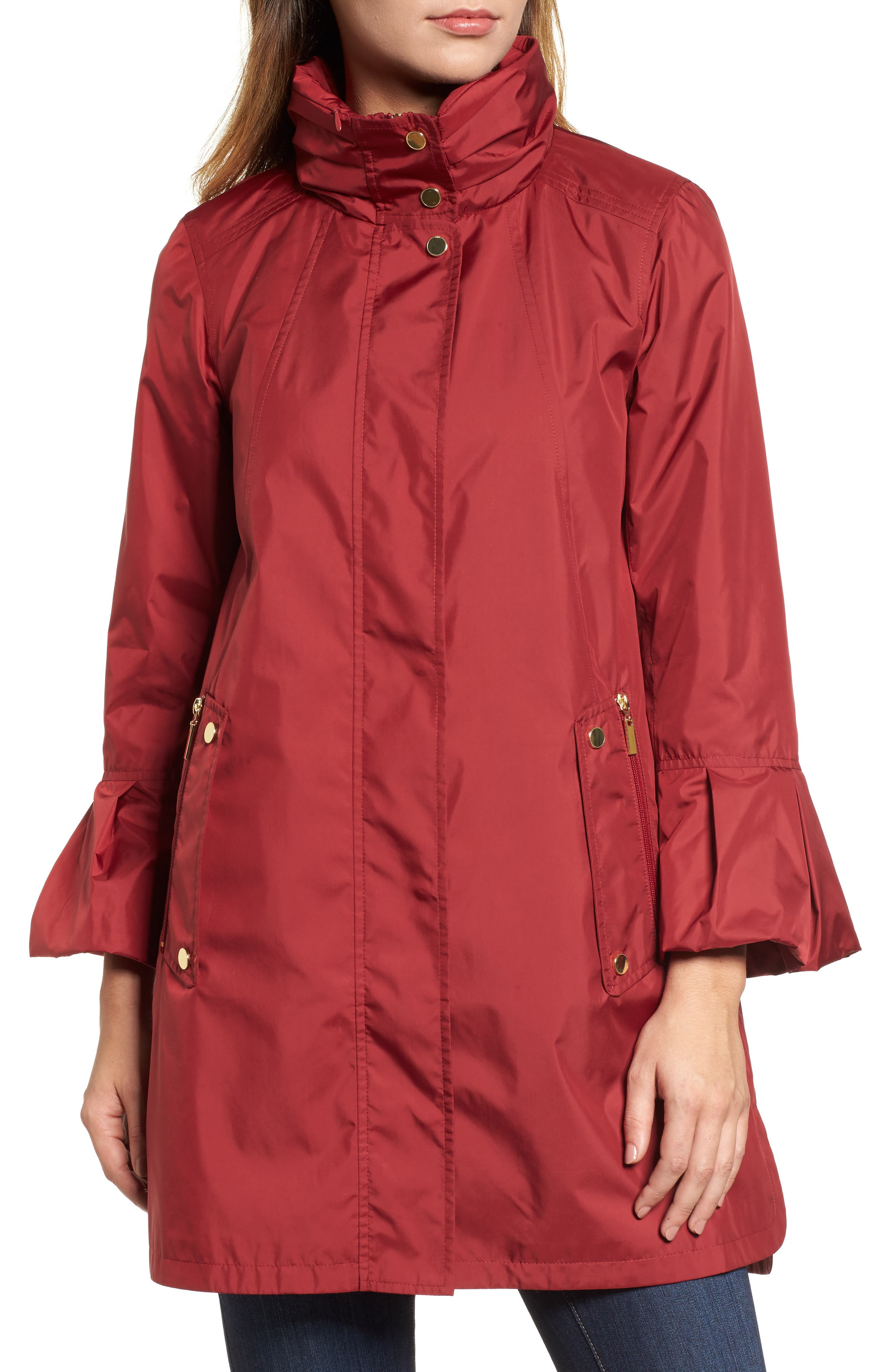 Flare Sleeve Packable Swing Jacket,                             Alternate thumbnail 8, color,