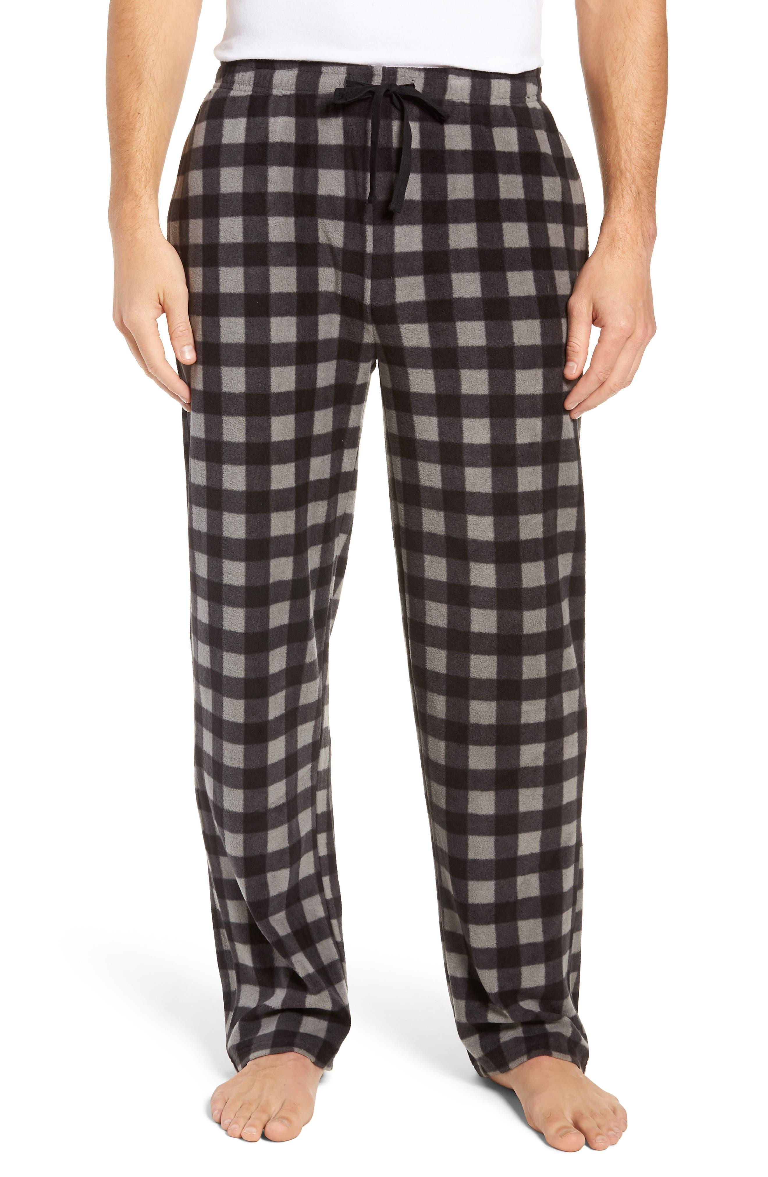 Print Microfleece Pajama Pants,                         Main,                         color, GREY DECEMBER- BLACK BUFFALO