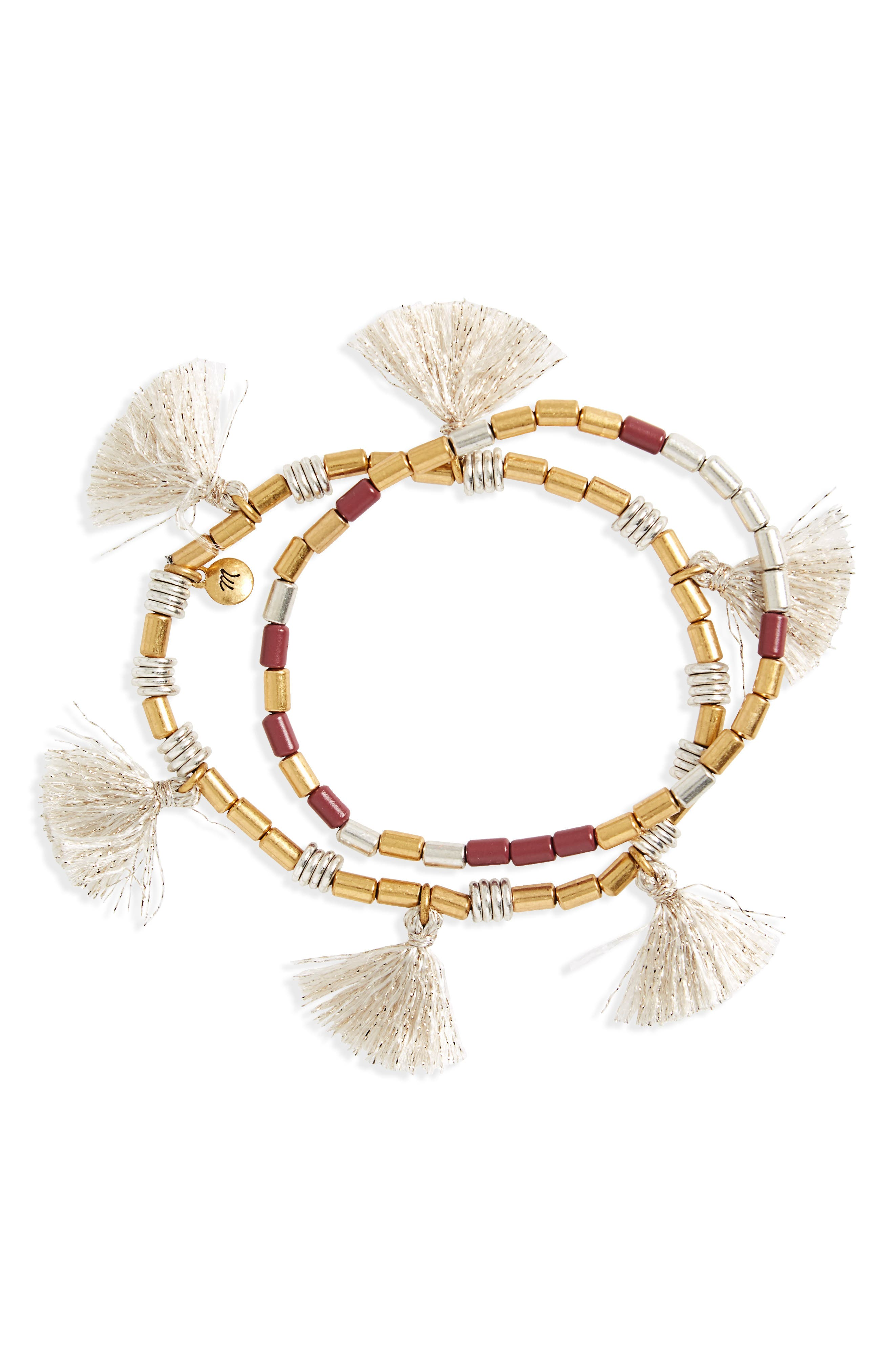MADEWELL,                             Set of 2 Beaded Tassel Bracelets,                             Main thumbnail 1, color,                             ANTIQUE ROSE