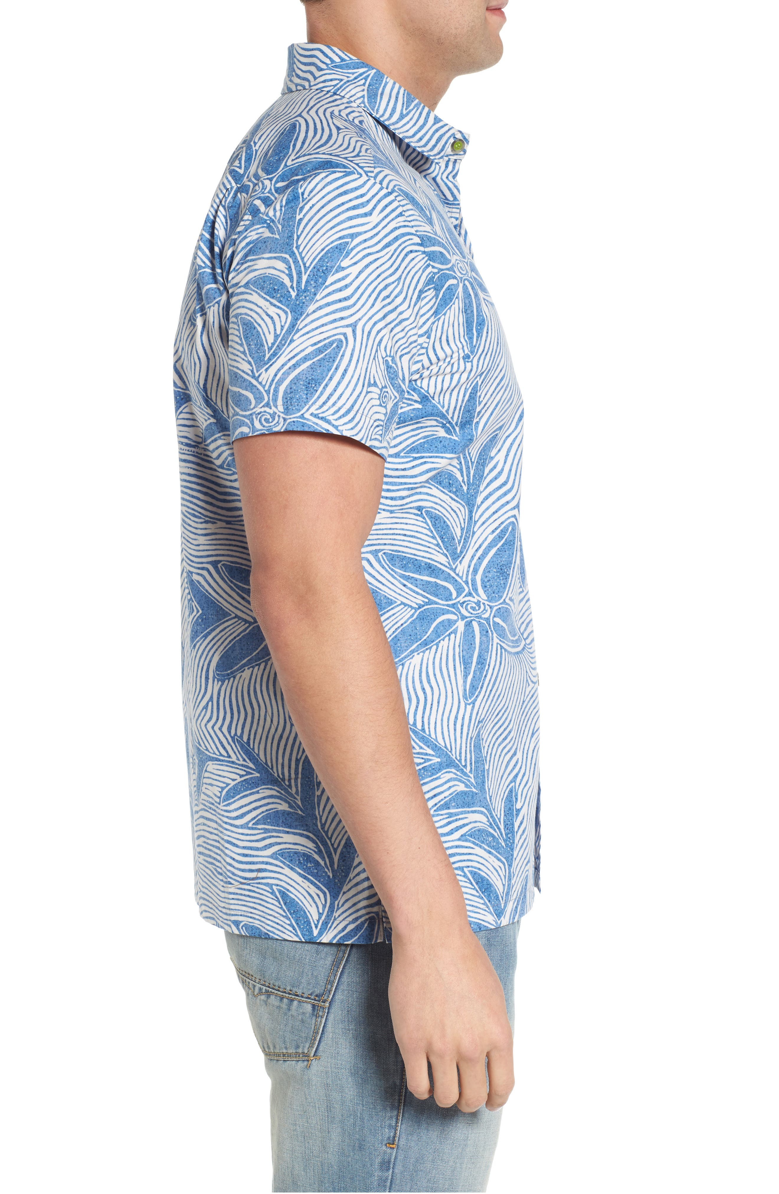 Coral Star Trim Fit Print Sport Shirt,                             Alternate thumbnail 3, color,                             409
