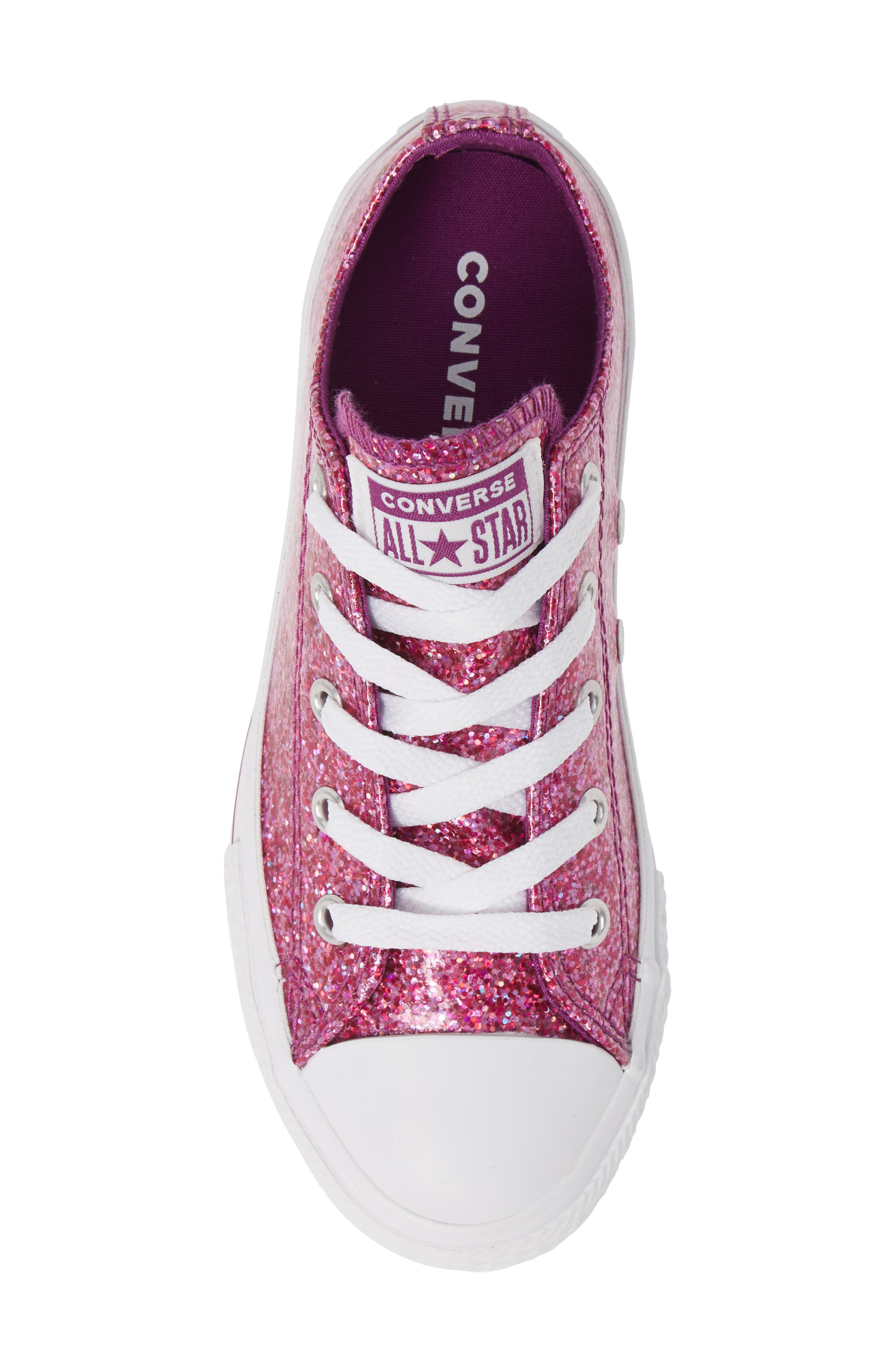 All Star<sup>®</sup> Seasonal Glitter OX Low Top Sneaker,                             Alternate thumbnail 5, color,                             ICON VIOLET