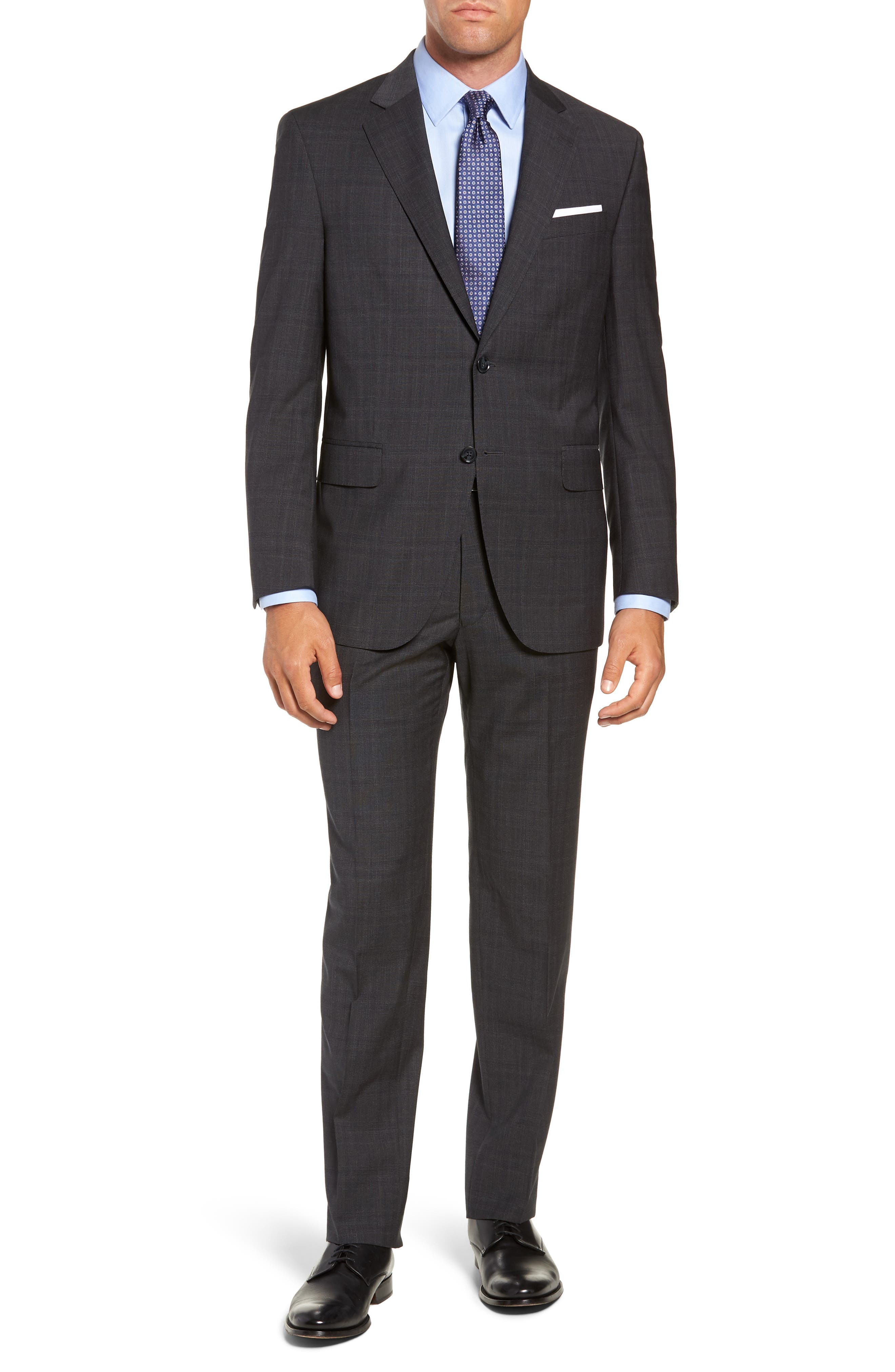 Flynn Classic Fit Plaid Wool Suit,                         Main,                         color, CHARCOAL