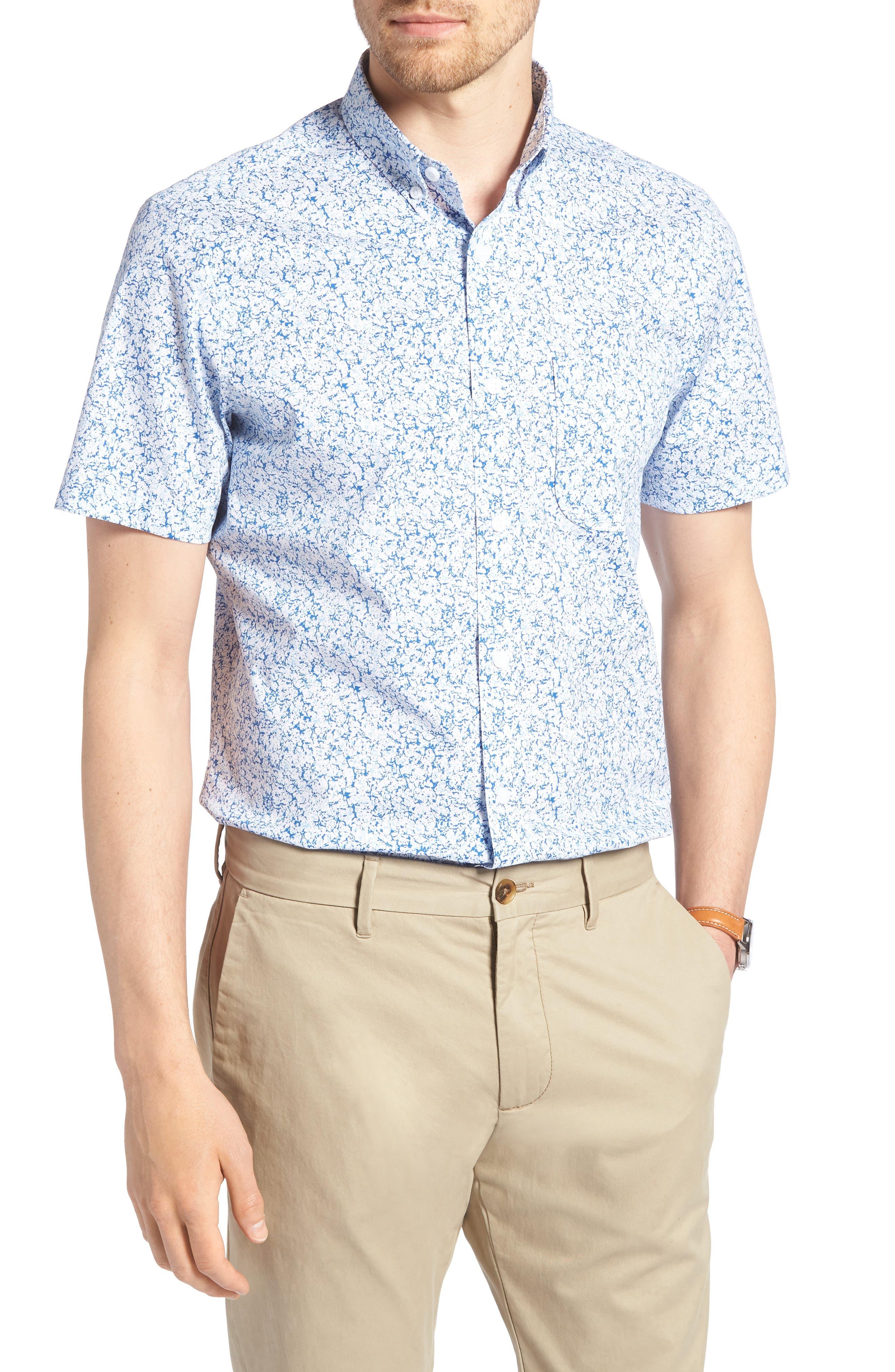 Trim Fit Marble Print Sport Shirt,                         Main,                         color, 100
