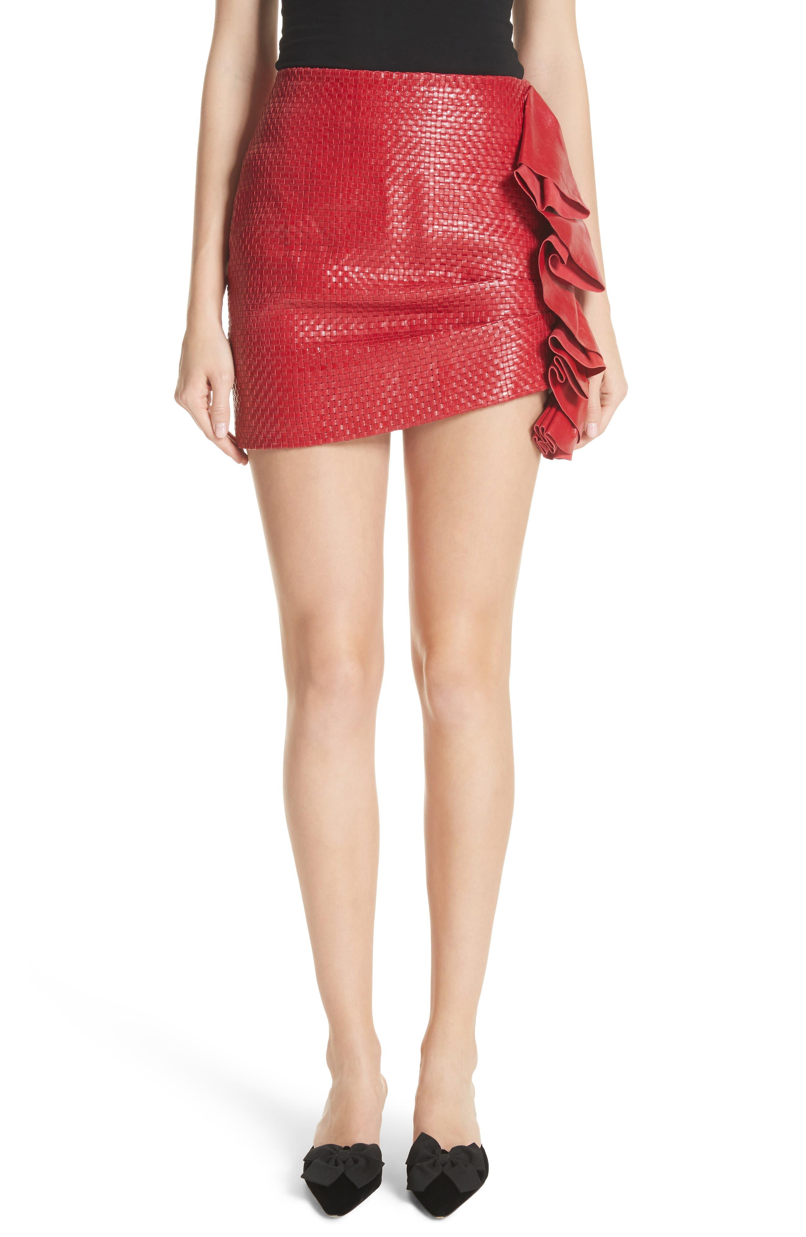 Ruffle Leather Miniskirt,                             Main thumbnail 1, color,