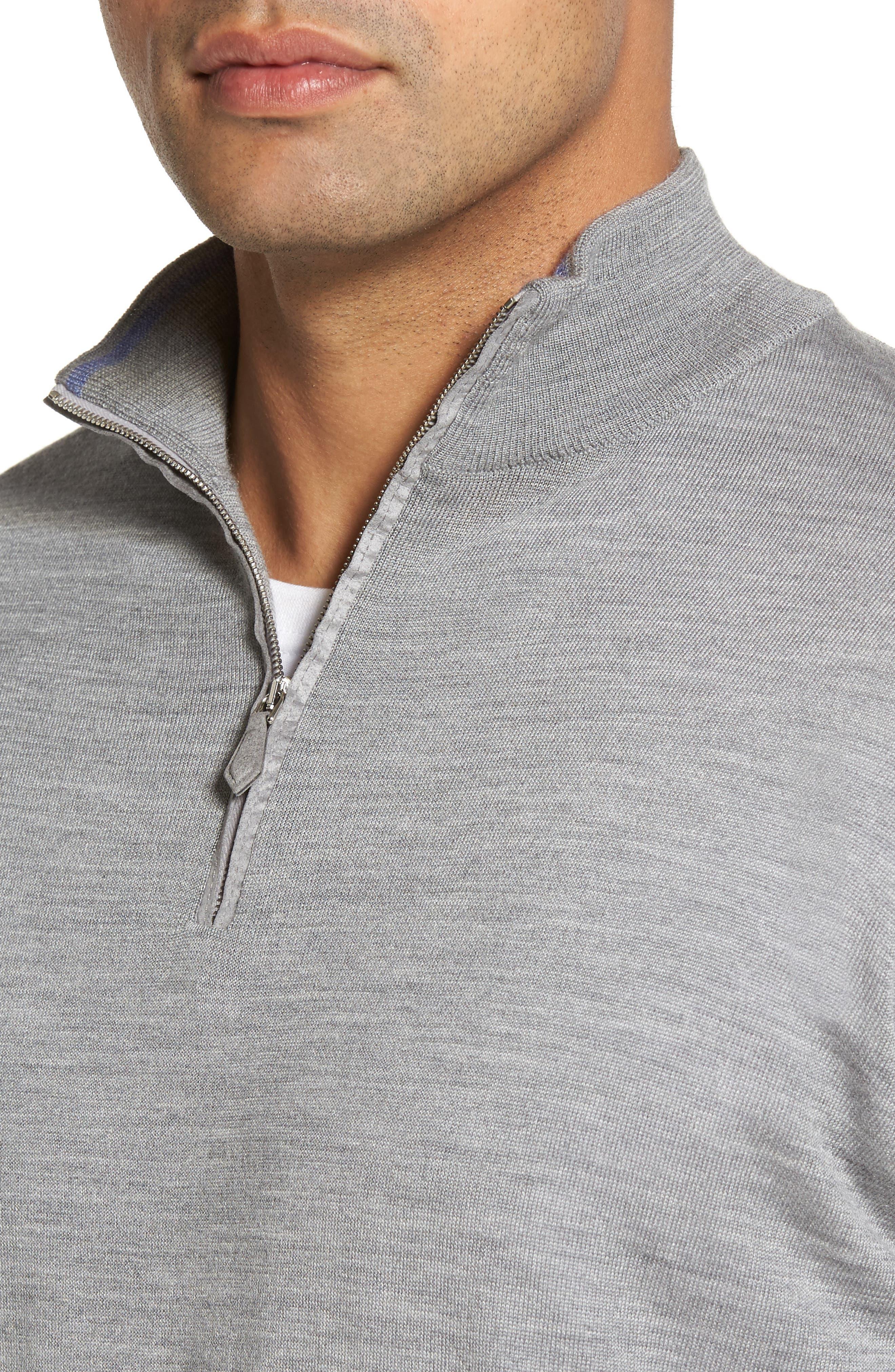 Wool Blend Quarter Zip Sweater,                             Alternate thumbnail 7, color,
