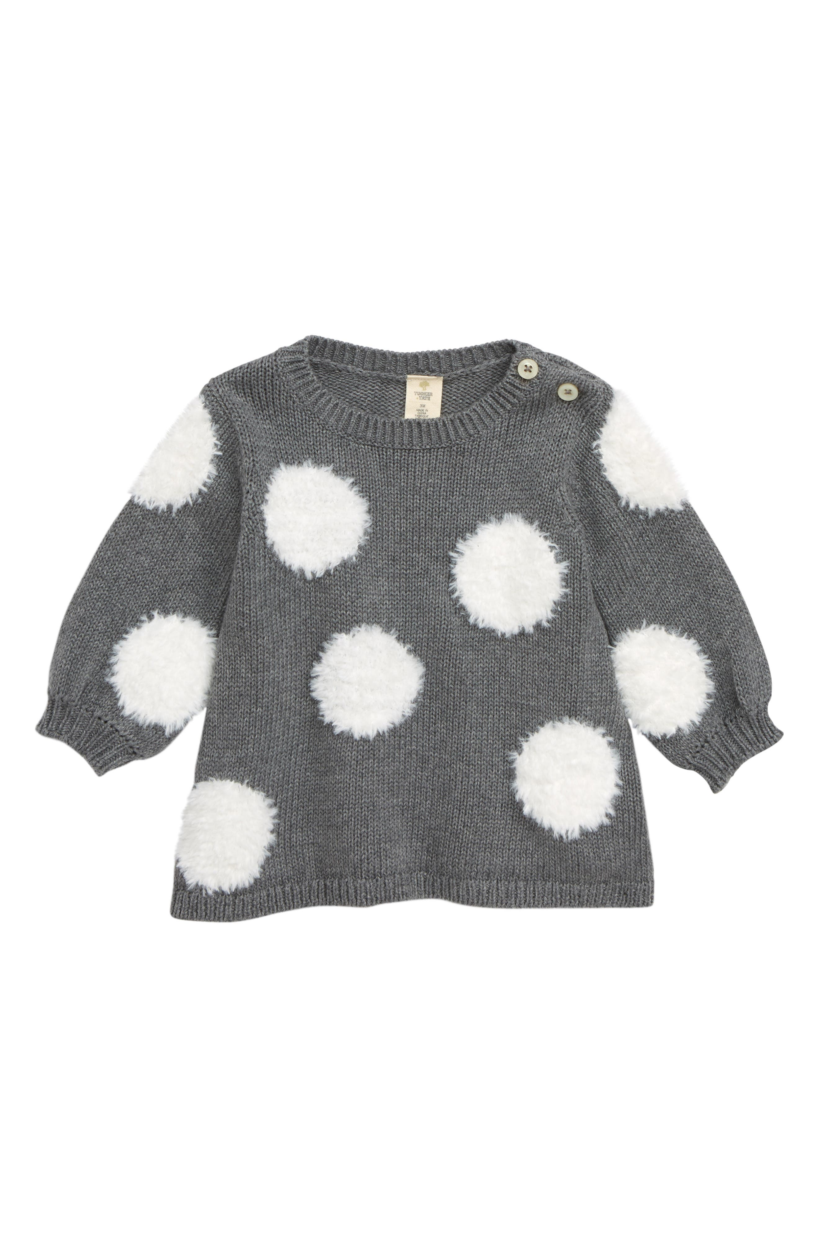 Fuzzy Dot Tunic Sweater, Main, color, 030