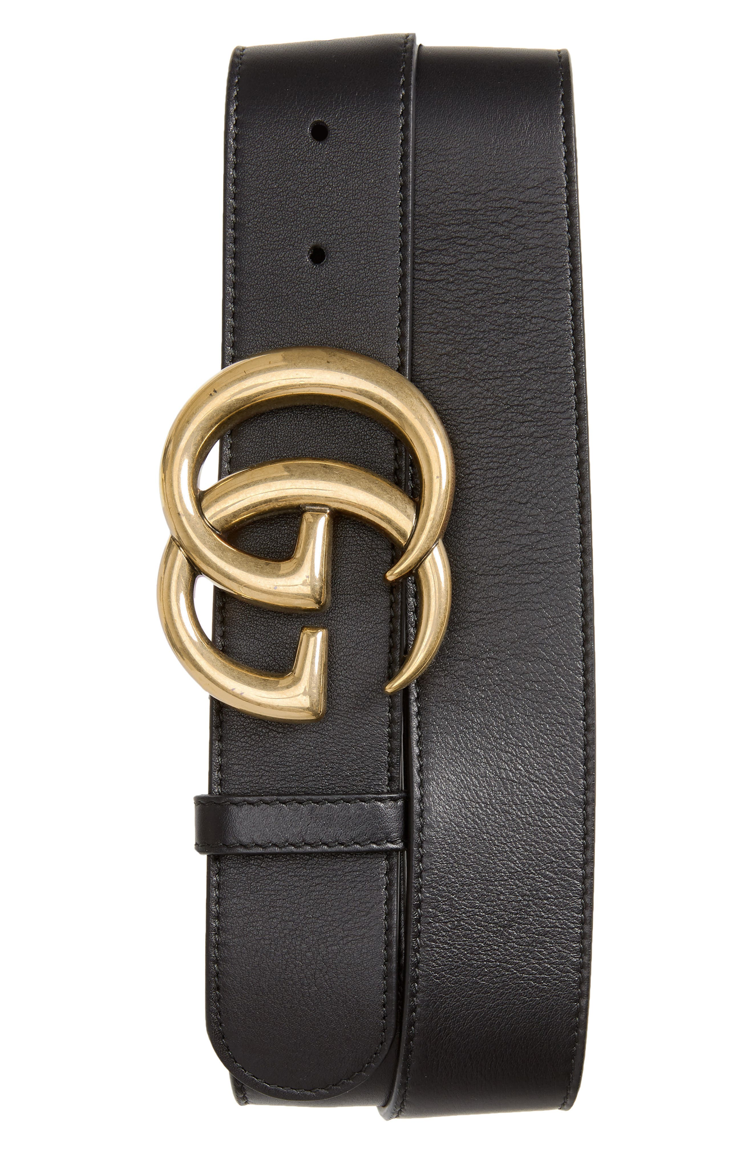 Logo Leather Belt,                         Main,                         color, 001