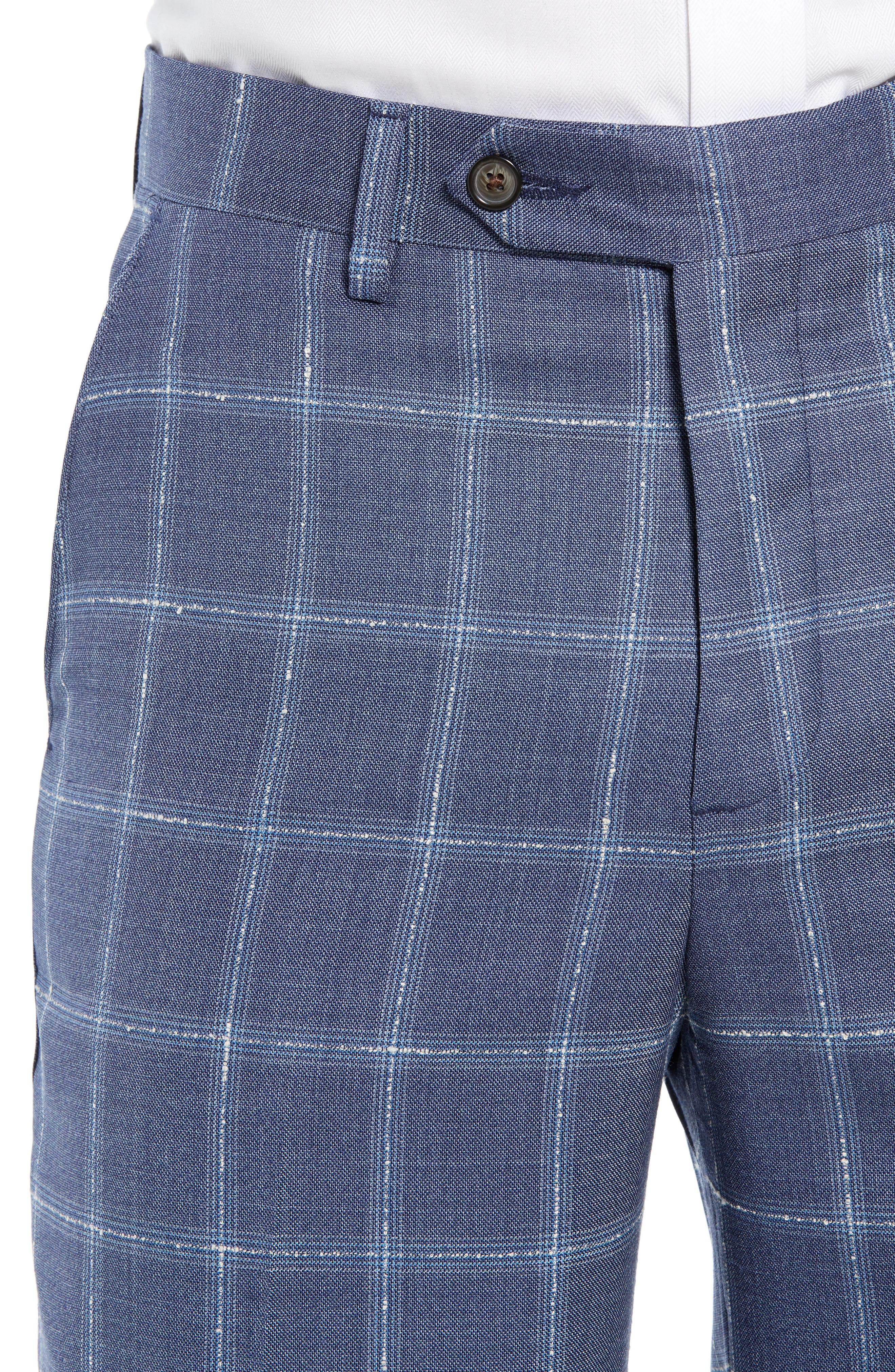Manufacturing Flat Front Plaid Wool Trousers,                             Alternate thumbnail 4, color,                             NAVY