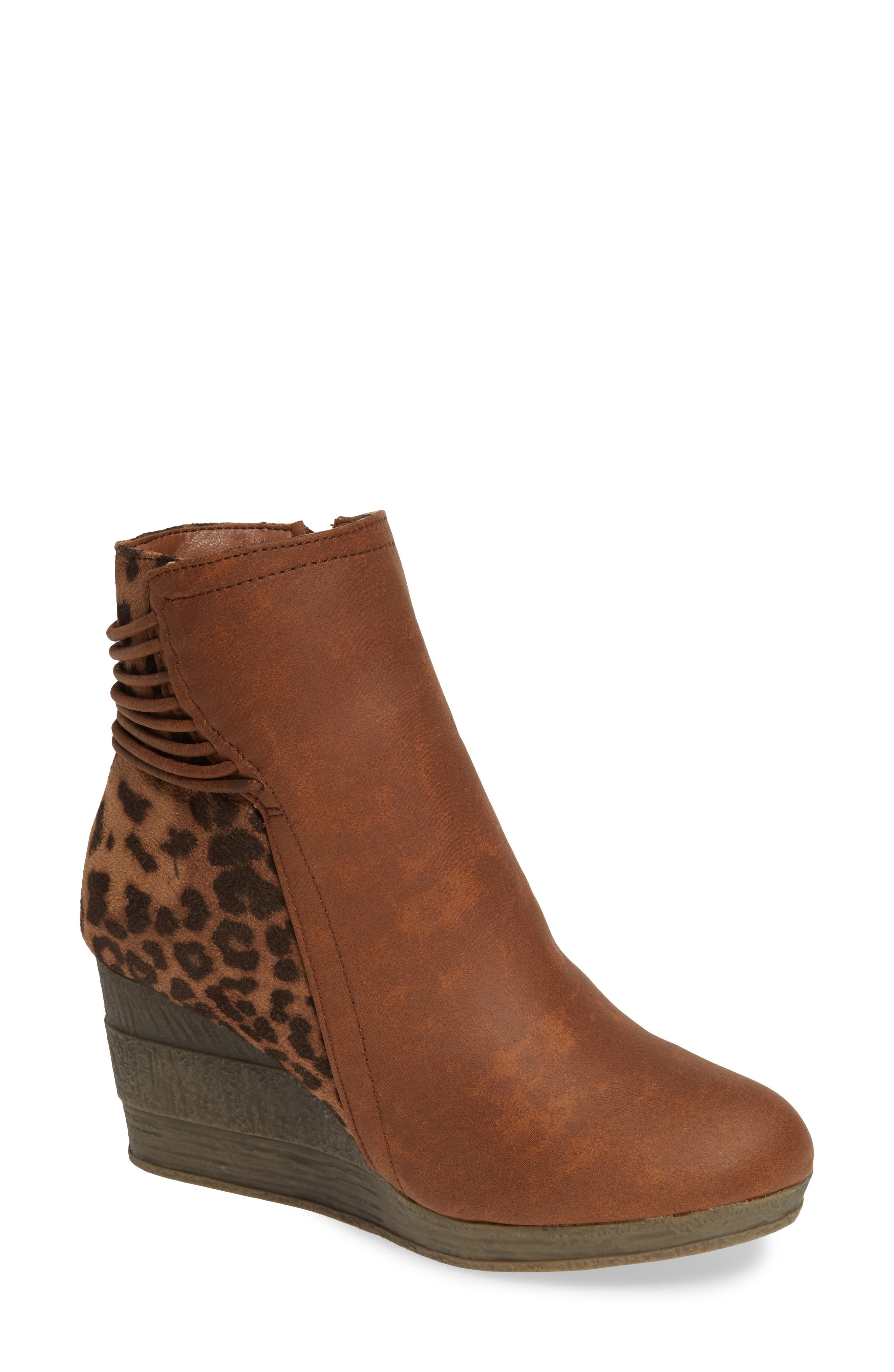 SBICCA,                             Colleen Wedge Boot,                             Main thumbnail 1, color,                             TAN LEOPARD FABRIC