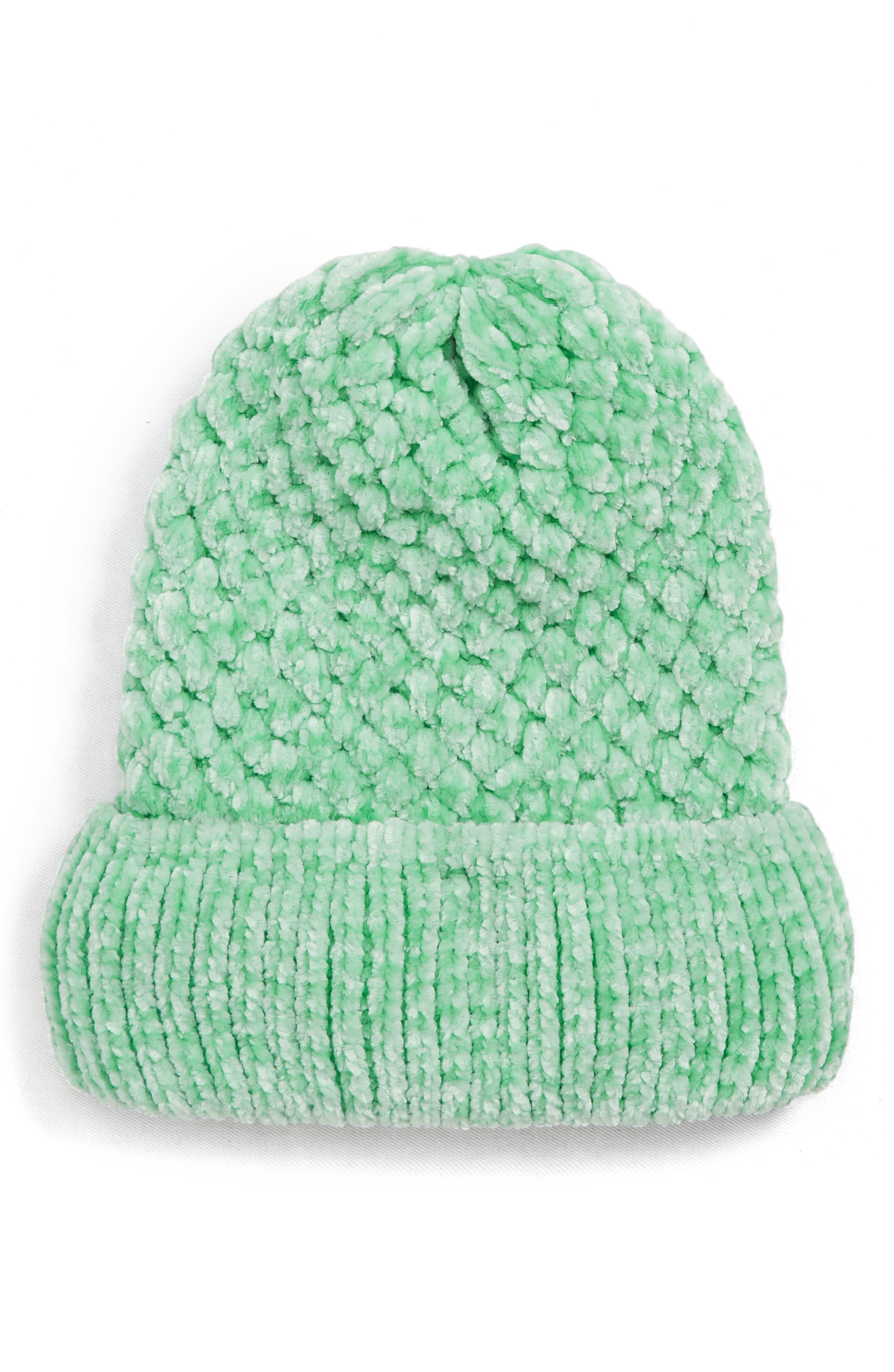Topshop Chenille Beanie Hat - Green
