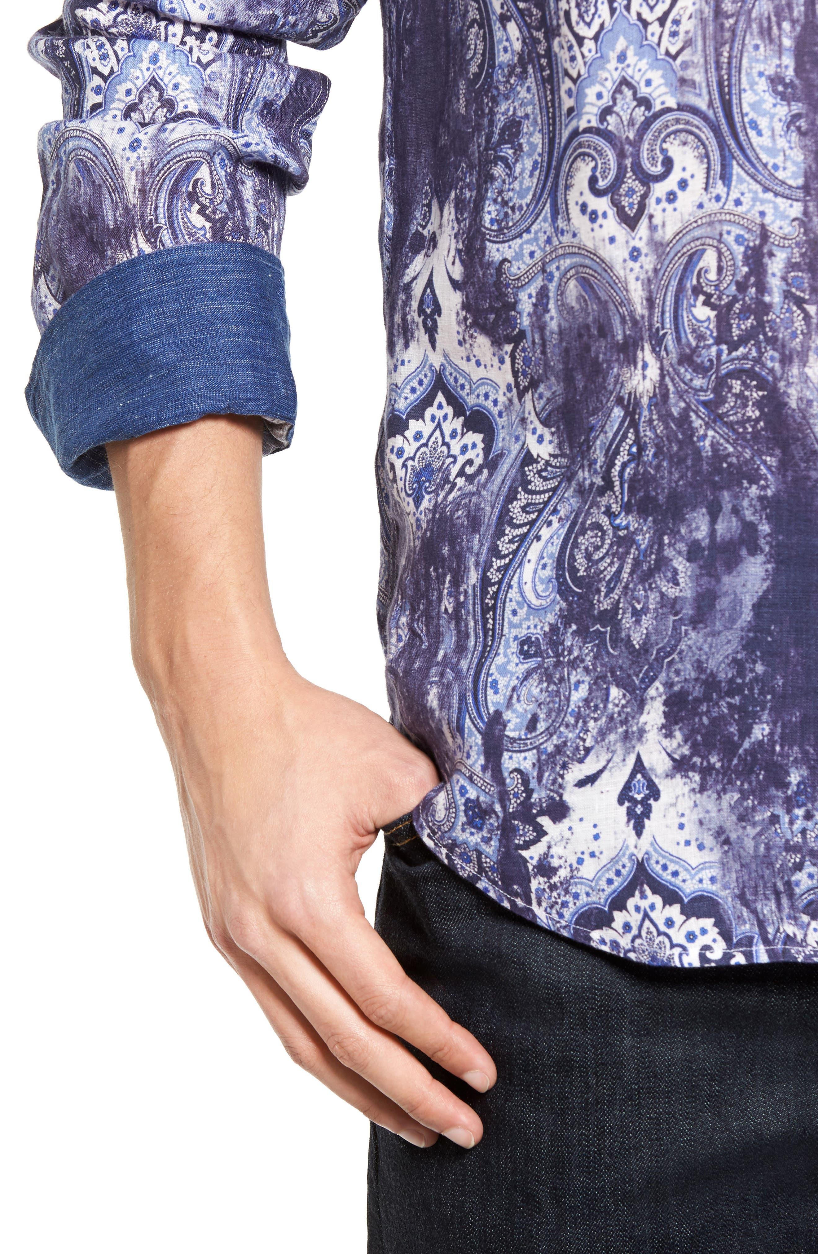 Shaped Fit Paisley Print Linen Sport Shirt,                             Alternate thumbnail 4, color,                             408